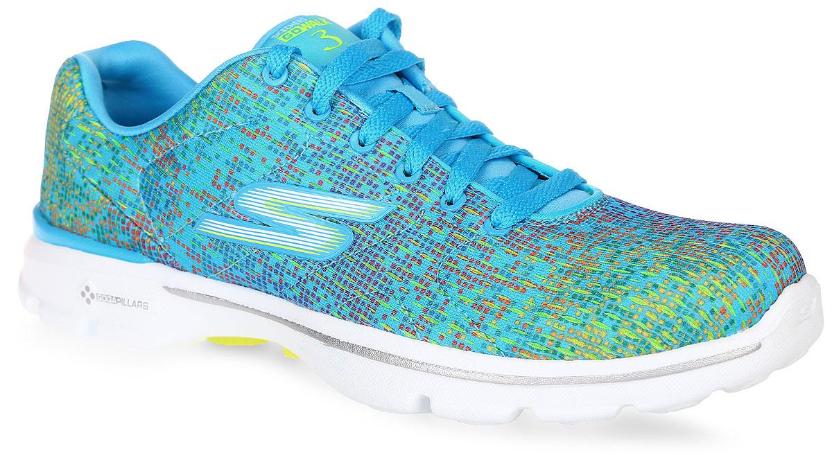 Кроссовки14058-BLUЖенские кроссовки Go Walk 3 - Digitize от Skechers отлично подойдут как для занятий спортом, так и для ежедневного использования. Верх обуви, выполненный из текстиля, декорирован ярким разноцветным принтом. Классическая шнуровка надежно зафиксирует изделие на ноге. Боковая сторона оформлена названием бренда, язычок - текстильной нашивкой. Внутренняя часть и стелька, изготовленные из текстиля, предотвратят натирание. Усовершенствованная стелька Goga Plus+ отлично амортизирует и идеально повторяет форму стопы, обеспечивая тем самым комфорт и уют. Подошва из ЭВА материала может сгибаться с удивительной легкостью, тем самым гарантирует максимальное удобство во время занятий спортом, и создает отличное сцепление с поверхностями. В комплекте предусмотрены дополнительные шнурки.