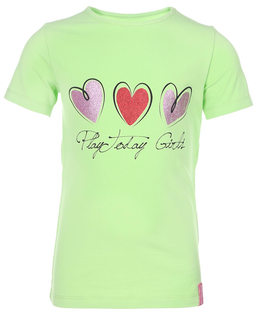 362070Великолепная футболка для девочки PlayToday идеально подойдет вашей маленькой моднице. Изготовленная из натурального хлопка с добавлением эластана, она необычайно мягкая и приятная на ощупь, не сковывает движения и позволяет коже дышать, не раздражает даже самую нежную и чувствительную кожу ребенка, обеспечивая наибольший комфорт. Футболка с короткими рукавами и круглым вырезом горловины украшена ярким принтом с сердечками. Оригинальный современный дизайн и актуальная расцветка делают эту футболку модным и стильным предметом детского гардероба. В ней ваша дочурка будет чувствовать себя уютно и комфортно, и всегда будет в центре внимания!