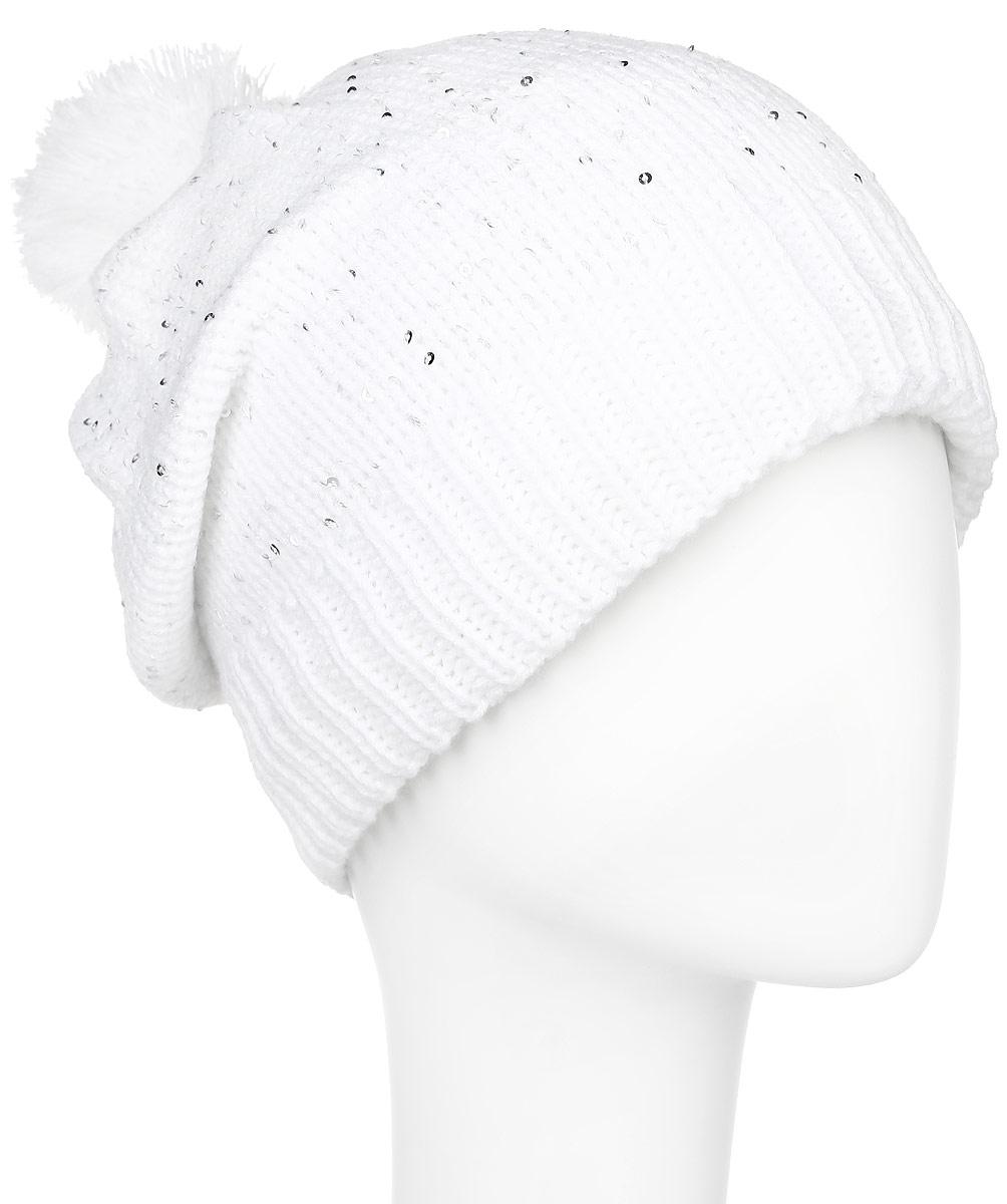 Шапка детская364184Стильная вязаная шапка для девочки Scool идеально подойдет для прогулок в прохладное время года. Изготовленная из акрила, она обладает хорошими дышащими свойствами и хорошо удерживает тепло. Внутри уютная флисовая подкладка. Шапка декорирована сверкающими серебристыми пайетками, создающими мерцающий эффект. На макушке украшена небольшим помпоном. Понизу проходит широкая вязаная резинка. Такая шапка станет модным и стильным предметом детского гардероба. Она улучшит настроение даже в хмурые прохладные дни! Уважаемые клиенты! Размер, доступный для заказа, является обхватом головы ребенка.