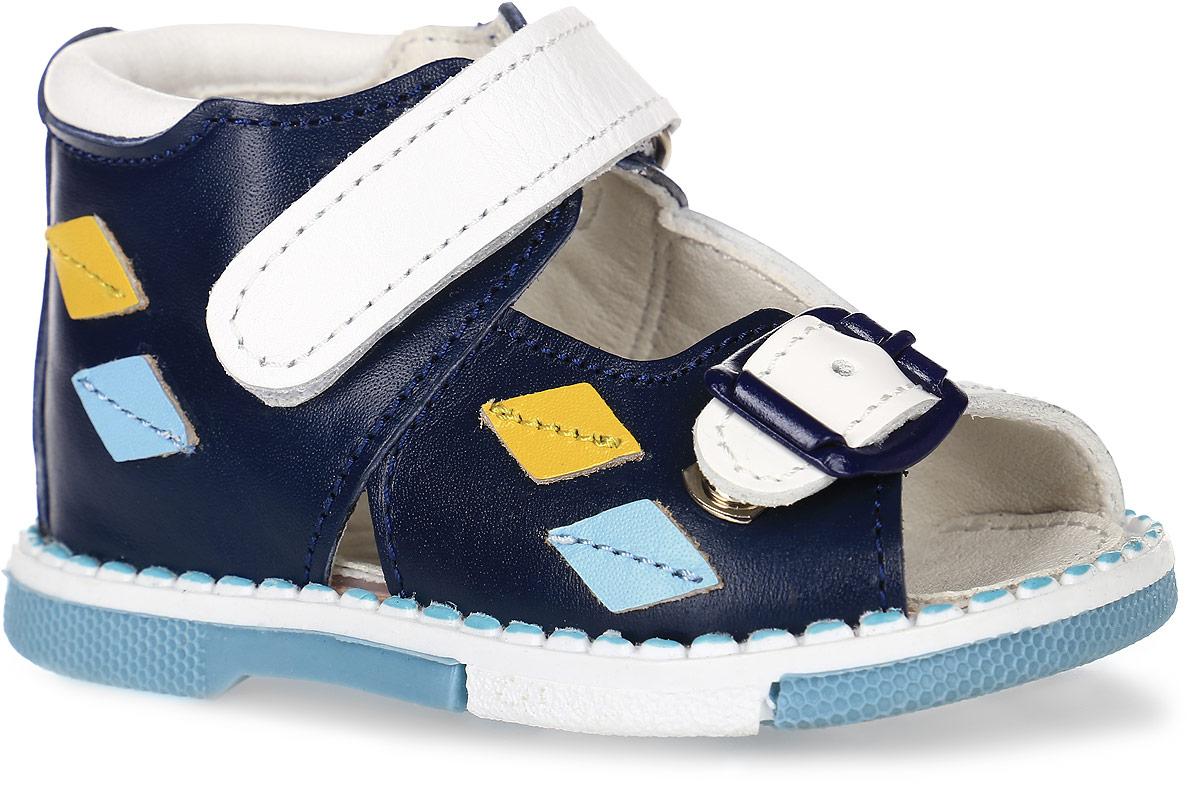 Tas129-24Модные сандалии Таши Орто заинтересуют вашего мальчика с первого взгляда. Модель выполнена из натуральной кожи контрастных цветов. Застежка-липучка и застежка-пряжка надежно фиксируют голеностоп и одновременно регулируют полноту, не ослабевают в процессе ежедневной носки, важный элемент ортопедической обуви. Боковая сторона декорирована нашивками в виде ромбиков. Анатомическая стелька из натуральной кожи с супинатором, не продавливающимся во время носки, обеспечивает правильное формирование стопы. Благодаря использованию современных внутренних материалов оптимально распределяется нагрузка по всей площади стопы, что дает ножке ощущение мягкости и комфорта. Полужесткий задник фиксирует ножку ребенка. Мягкая верхняя часть, которая плотно прилегает к ноге, и подкладка, изготовленная из натуральной кожи, позволяют избежать натирания. У изделия ортопедический каблук Томаса высотой от 2 до 5 мм (в зависимости от размера обуви), продленный с внутренней стороны подошвы, его внутренняя часть...