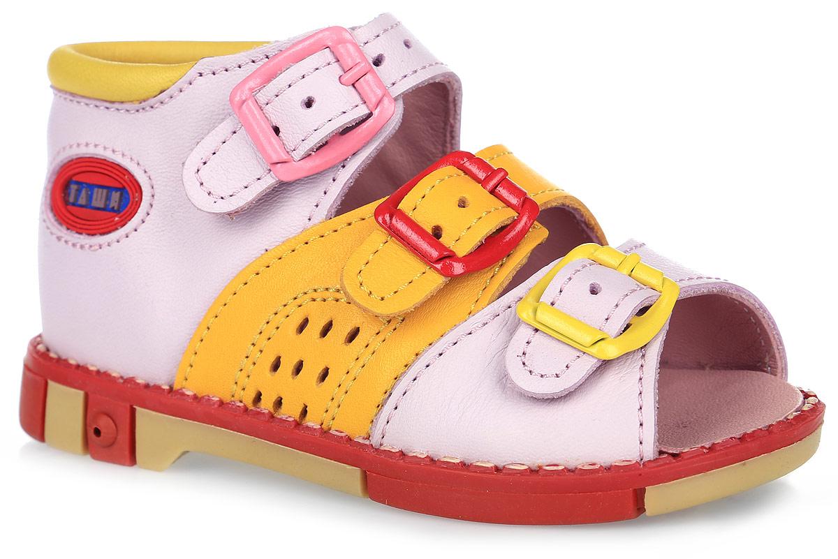 СандалииTas221-157Модные сандалии Таши Орто заинтересуют вашу девочку с первого взгляда. Модель выполнена из натуральной кожи. Застежки-пряжки надежно фиксируют голеностоп и одновременно регулируют полноту, не ослабевают в процессе ежедневной носки, важный элемент ортопедической обуви. Анатомическая стелька из натуральной кожи с супинатором, не продавливающимся во время носки, обеспечивает правильное формирование стопы. Благодаря использованию современных внутренних материалов оптимально распределяется нагрузка по всей площади стопы, что дает ножке ощущение мягкости и комфорта. Полужесткий задник фиксирует ножку ребенка. Мягкая верхняя часть, которая плотно прилегает к ноге, и подкладка, изготовленная из натуральной кожи, позволяют избежать натирания. У изделия ортопедический каблук Томаса высотой от 2 до 5 мм (в зависимости от размера обуви), продленный с внутренней стороны подошвы, его внутренняя часть длиннее наружной, укрепляет подошву под средней частью стопы и препятствует заваливанию стопы...