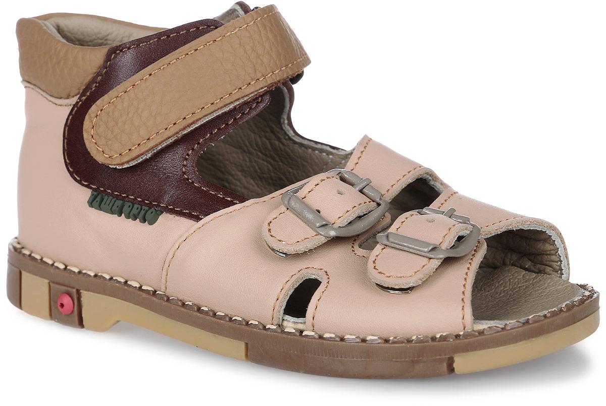 Tas301-035Модные сандалии Таши Орто заинтересуют вашего мальчика с первого взгляда. Модель выполнена из натуральной кожи. Застежка-липучка и застежки-пряжки надежно фиксируют голеностоп и одновременно регулируют полноту, не ослабевают в процессе ежедневной носки, важный элемент ортопедической обуви. Боковая сторона оформлена символикой бренда. Анатомическая стелька из натуральной кожи с супинатором, не продавливающимся во время носки, обеспечивает правильное формирование стопы. Благодаря использованию современных внутренних материалов оптимально распределяется нагрузка по всей площади стопы, что дает ножке ощущение мягкости и комфорта. Полужесткий задник фиксирует ножку ребенка. Мягкая верхняя часть, которая плотно прилегает к ноге, и подкладка, изготовленная из натуральной кожи, позволяют избежать натирания. У изделия ортопедический каблук Томаса высотой от 2 до 5 мм (в зависимости от размера обуви), продленный с внутренней стороны подошвы, его внутренняя часть длиннее наружной,...