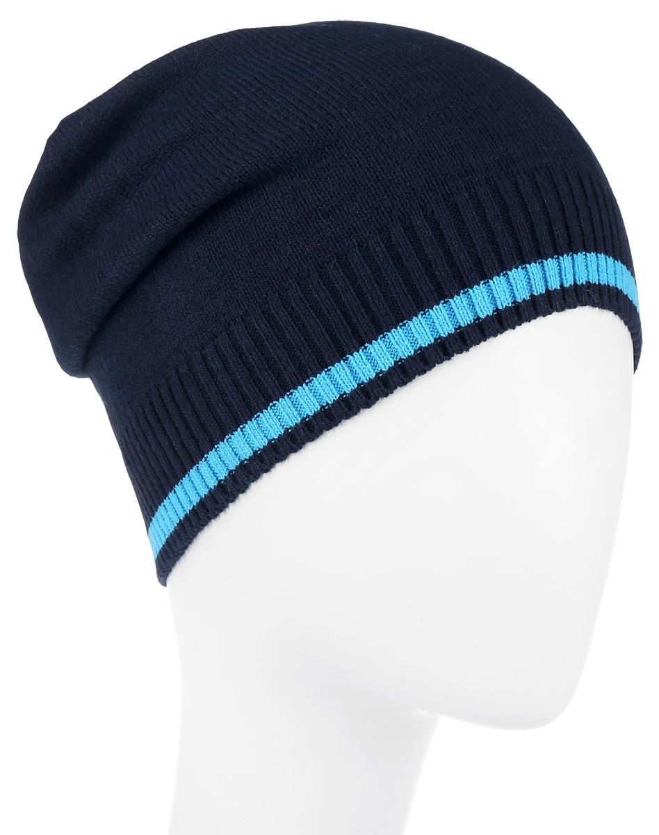Шапка детская363094Стильная вязаная шапка для мальчика Scool идеально подойдет для прогулок в прохладное время года. Изготовленная из хлопка с добавлением акрила, она обладает хорошими дышащими свойствами и хорошо удерживает тепло. Шапка декорирована небольшой текстильной нашивкой с названием бренда. Понизу проходит широкая вязаная резинка, украшенная голубой полоской. Такая шапка станет модным и стильным предметом детского гардероба. Она улучшит настроение даже в хмурые прохладные дни! Уважаемые клиенты! Размер, доступный для заказа, является обхватом головы ребенка.