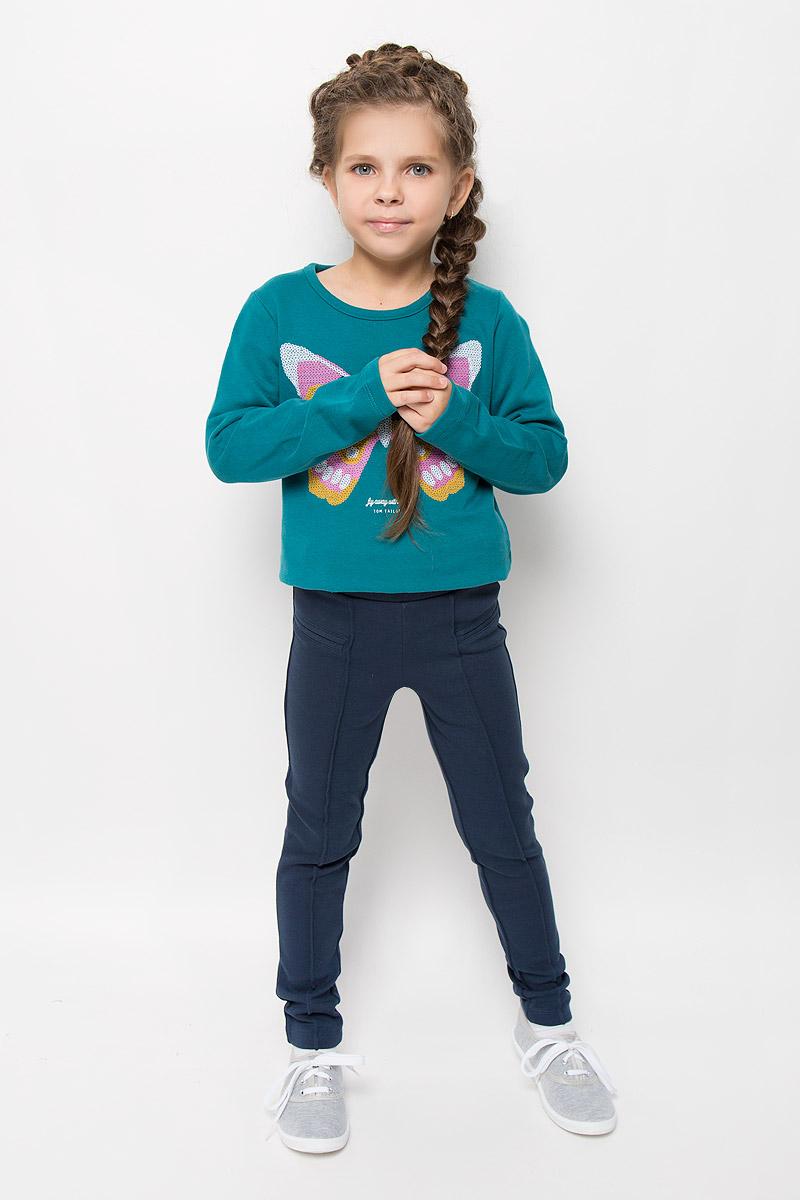 Брюки6828970.40.81_6519Стильные брюки для девочки Tom Tailor идеально подойдут вашей маленькой моднице. Изготовленные из хлопка с добавлением эластана, они мягкие и приятные на ощупь, не сковывают движения и хорошо пропускают воздух, обеспечивая комфорт. Брюки зауженного кроя дополнены в поясе мягкой трикотажной резинкой. В поясе модель можно регулировать с помощью вшитой резинки на пуговицах. Спереди имеется имитация кармашков и прошитые стрелки на брючинах. Современный дизайн и расцветка делают эти брюки модным и стильным предметом детского гардероба. В них ваша принцесса всегда будет в центре внимания!