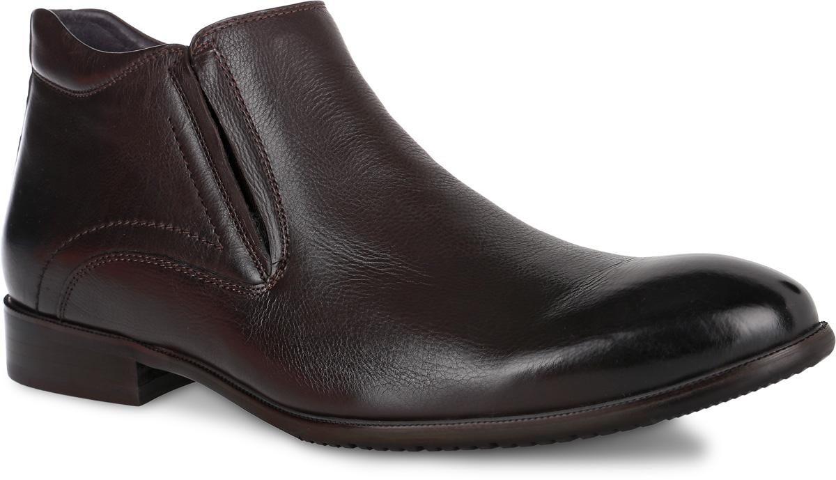 RS4_07-3-745_BROWNМодные мужские ботинки от El Tempo не оставят вас равнодушным благодаря своему дизайну и качеству. Модель, выполненная из натуральной кожи, имеет удобную застежку-молнию расположенную сбоку. Также изделие дополнено небольшой эластичной вставкой и оформлено прострочкой. Стелька, выполненная из ворсина, предотвратит натирание и обеспечит комфорт при носке. Поверхность стельки оформлена фирменной нашивкой. Подошва, изготовленная из прочной и гибкой резины, дополнена небольшим каблуком. Протекторы с рифлением на подошве гарантируют отличное сцепление с различными поверхностями. Такие стильные ботинки займут достойное место в вашем гардеробе.