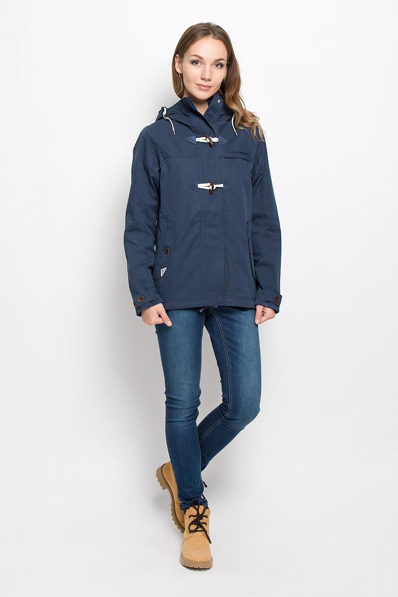 500419_285Удобная женская куртка Didriksons1913 Lori согреет вас в прохладную погоду и позволит выделиться из толпы. Модель с длинными рукавами и несъемным капюшоном выполнена из водонепроницаемой и непродуваемой мембранной ткани. Куртка застегивается на застежку-молнию спереди и имеет ветрозащитный клапан на кнопках и крупных пуговицах. Объем капюшона регулируется при помощи шнурка-кулиски. Изделие дополнено двумя втачными карманами с клапанами на пуговицах спереди и внутренним втачным карманом на застежке-молнии с отверстием для наушников, а также внутренним накладным карманом-сеткой. Манжеты рукавов куртки дополнены хлястиками с пуговицами. Низ и линия талии куртки дополнены шнурками-кулисками со стопперами. Эта модная и в то же время комфортная куртка - отличный вариант для прогулок, она подчеркнет ваш изысканный вкус и поможет создать неповторимый образ.