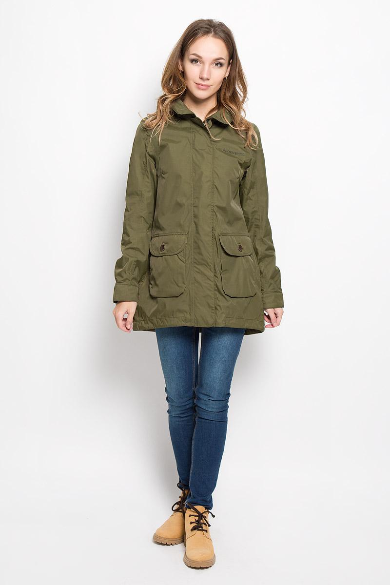 Куртка500404_161Удобная женская куртка Didriksons1913 Ida согреет вас в прохладную погоду и позволит выделиться из толпы. Модель с длинными рукавами, отложным воротником и съемным капюшоном выполнена из водонепроницаемой и непродуваемой мембранной ткани. Куртка застегивается на застежку-молнию спереди и имеет ветрозащитный клапан на кнопках. Объем капюшона регулируется при помощи шнурка-кулиски, глубину можно увеличить благодаря кнопкам сверху. Изделие дополнено двумя накладными карманами с клапанами на пуговицах, потайным кармашком на застежке-молнии с отверстием для наушников, расположенным под ветрозащитным клапаном, внутренним карманом-сеткой и накладным карманом на кнопке. Манжеты рукавов куртки дополнены кнопками. Низ куртки дополнен шнурком-кулиской со стопперами. Эта модная и в то же время комфортная куртка - отличный вариант для прогулок, она подчеркнет ваш изысканный вкус и поможет создать неповторимый образ.