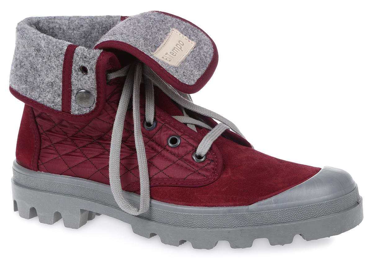 ENF10_111-05-10_BORDEAUXЖенские ботинки El Tempo выполнены из спилка и дополнены текстильными вставками со стеганым узором. Обувь фиксируется на ноге при помощи классической шнуровки. Подкладка и стелька выполнены из байки. Подошва из резины дополнена рифлением. Голенище дополнено двумя кнопками, позволяющими регулировать его длину.