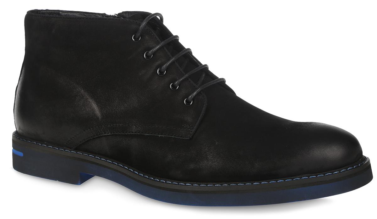 RC10_546-1-39_BLACKМужские ботинки El Tempo выполнены из натурального нубука. Обувь фиксируется на ноге при помощи классической шнуровки и застежки-молнии сбоку. Подкладка и стелька изготовлены из ворсина. Подошва из ЭВА выполнена в контрастном цвете.
