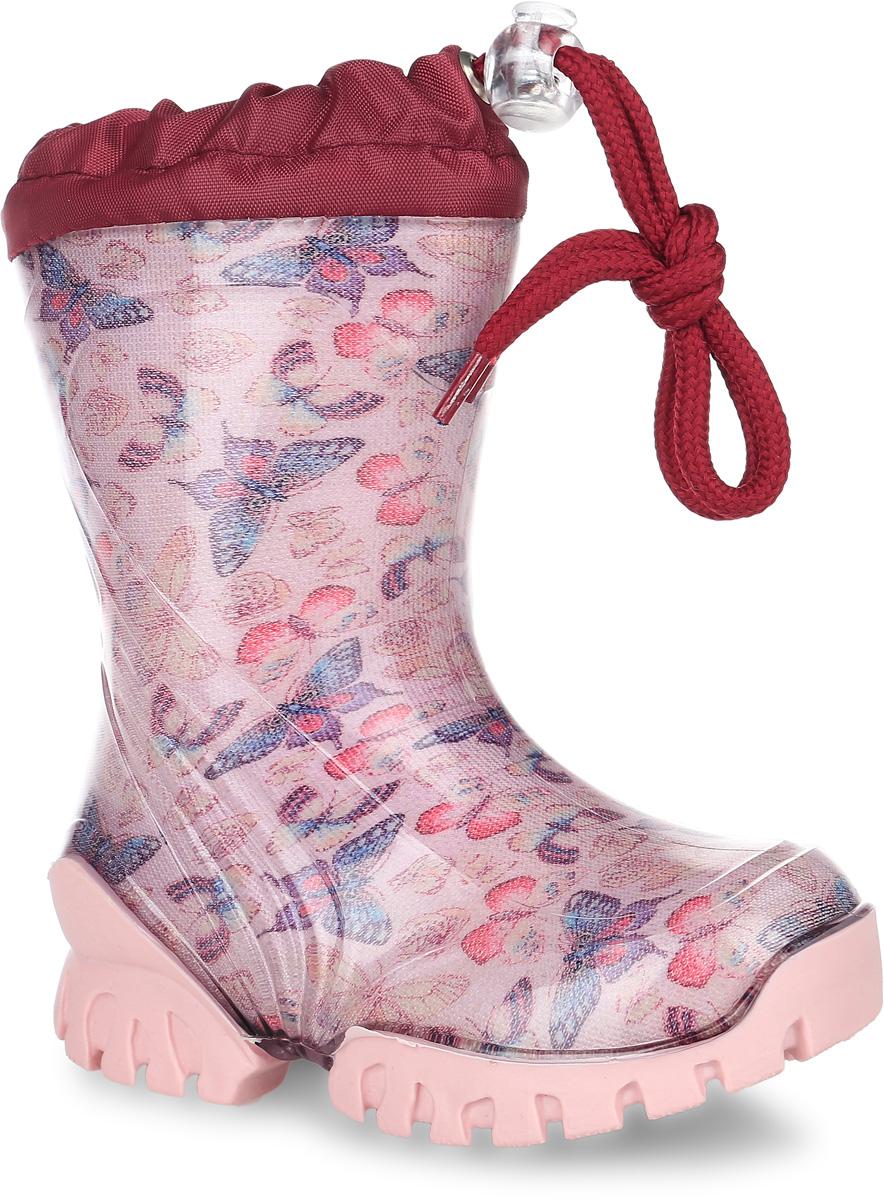 10721-9Стильные резиновые сапоги от фирмы Зебра - идеальная обувь для прогулки в ненастную погоду. Модель выполнена из качественного ПВХ и оформлена оригинальным рисунком в виде бабочек. Модель дополнена текстильным верхом, объем которого регулируется за счет шнурка со стоппером. Подкладка выполнена из текстильного материала с небольшим ворсом. Съемная стелька из войлока гарантирует комфорт при носке. Оригинальная рельефная подошва гарантирует отличное сцепление с любой поверхностью. Такие модные и практичные резиновые сапоги займут достойное место в гардеробе вашей девочки.