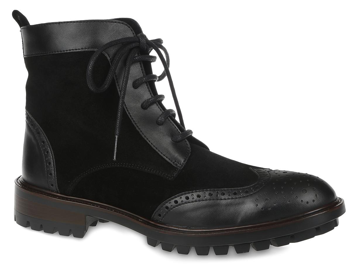 EFF14_8734_BLACKЖенские ботинки El Tempo выполнены из натуральной кожи со вставками из спилка и украшены декоративной перфорацией. Обувь фиксируется на ноге при помощи классической шнуровки и застежки-молнии сбоку. Подкладка и стелька выполнены из натуральной кожи. Подошва из резины дополнена рифлением.