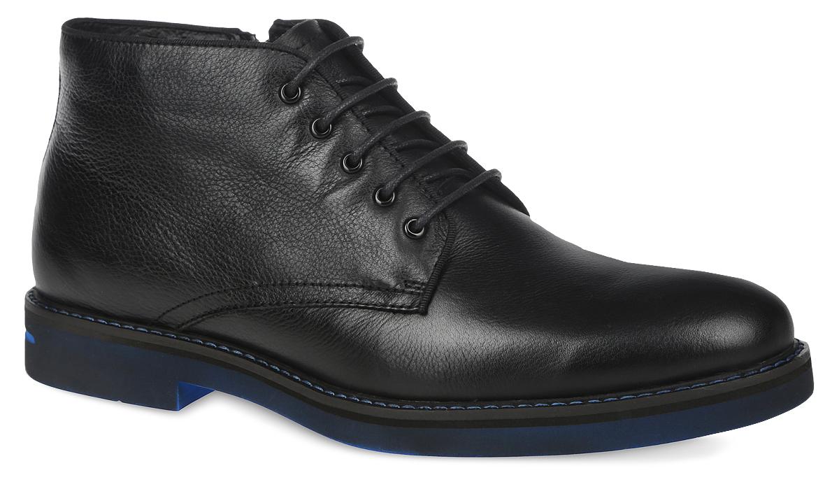 RC10_546-1-118_BLACK-BLUEМужские ботинки El Tempo выполнены из натуральной кожи. Обувь фиксируется на ноге при помощи классической шнуровки и застежки-молнии сбоку. Подкладка и стелька изготовлены из ворсина. Подошва из ЭВА выполнена в контрастном цвете.