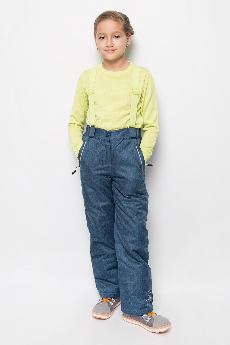 Брюки утепленные364151Утепленные брюки для девочки Scool изготовленные из полиэстера, станут ярким и стильным дополнением к детскому гардеробу. Материал приятный на ощупь, позволяет коже дышать, легко стирается, быстро сушится. Подкладка выполнена из полиэстера с флисовыми вставками. В качестве утеплителя используется синтепон (150 г/м2). Брюки застегиваются на кнопку и имеют ширинку на застежке- молнии. Модель оснащена эластичными наплечными лямками, регулируемыми по длине. Лямки пристегиваются к брюкам при помощи застежек-липучек. На талии предусмотрена широкая эластичная резинка, которая позволяет надежно заправить водолазку или свитер. По бокам два функциональных кармана со специальным манжетом для защиты от снега. Сзади модель дополнена двумя накладными карманами. Снизу брючин предусмотрены внутренние манжеты с прорезиненными полосками. Низ штанишек утягивается стопперами. Дополнена модель светоотражающими элементами. Комфортные, удобные и практичные брюки...