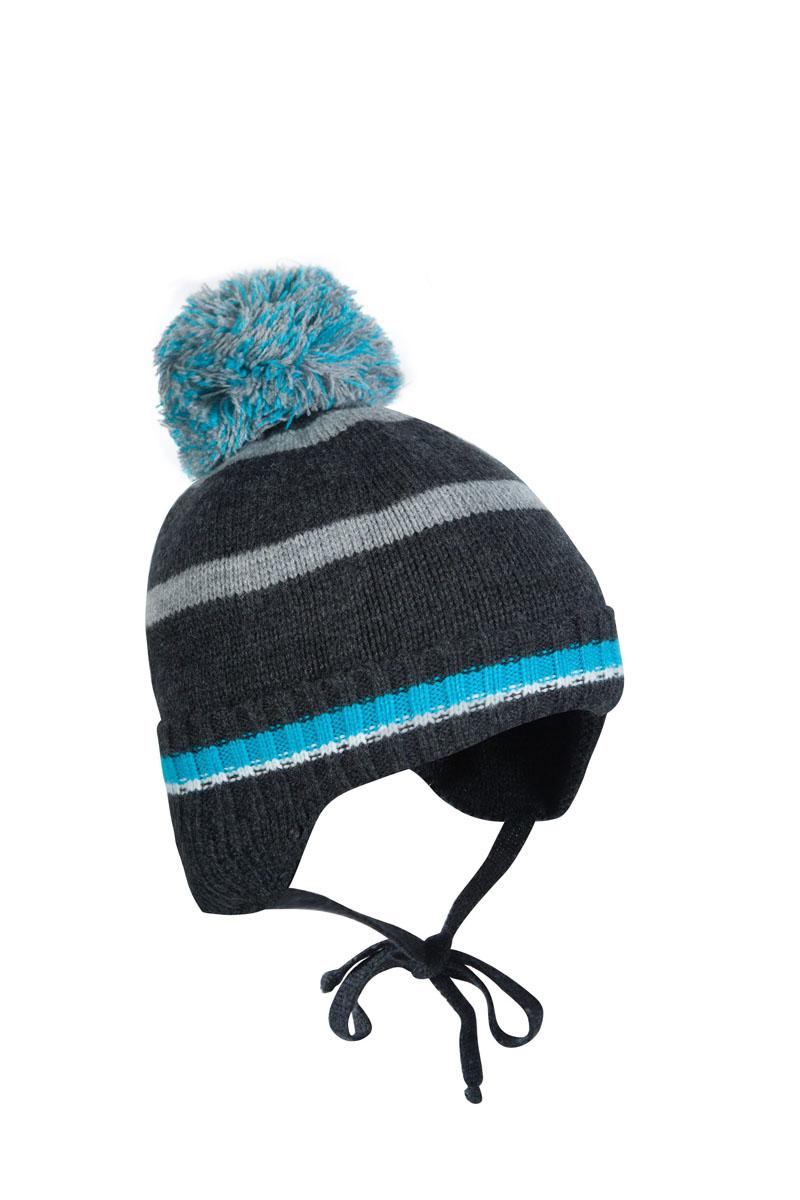 Шапка детская1Ш1616Шапка для мальчика бэби с завязками. Такая шапка хорошо закрывает ушки, завязки фиксируют шапку так, чтобы ничего не мешало игре или прогулке. Шапка мягкая и теплая благодаря утеплителю холлофайбер плотностью 70 г. и составу пряжи 70% шерсть, 30% акрил. Подкладка вискоза отводит излишнюю влагу и сохраняет ощущение комфорта во время прогулок. Шапка с декоративным отворотом и нитяным помпоном.