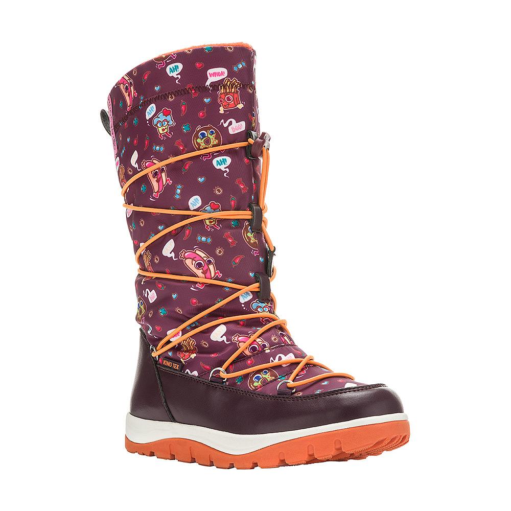 6515AДутики для девочки Begonia от Kakadu непременно понравится как юным модницам, так и их заботливым родителям. Модель, выполненная из текстиля King Tex и синтетической кожи, гарантирует непромокаемость. Укрепленные носок и пятка обладают необходимой степенью жесткости для поддержания формы на протяжении всего периода использования. Подкладка из шерсти обеспечивает ногам тепло и сухость при любых климатических условиях. Съемную стельку всегда можно вынуть или заменить. Облегченная подошва отличается хорошей сцепляемостью с поверхностью и высокой пружинистостью. Благодаря этим качествам дети могут совершать длительные прогулки без чувства усталости в ногах. Детские дутики оформлены яркими изображениями. Застежка-молния надежно фиксирует изделие на ноге. Эластичная шнуровка со стоппером по голенищу позволяет легко подобрать оптимальный объем.