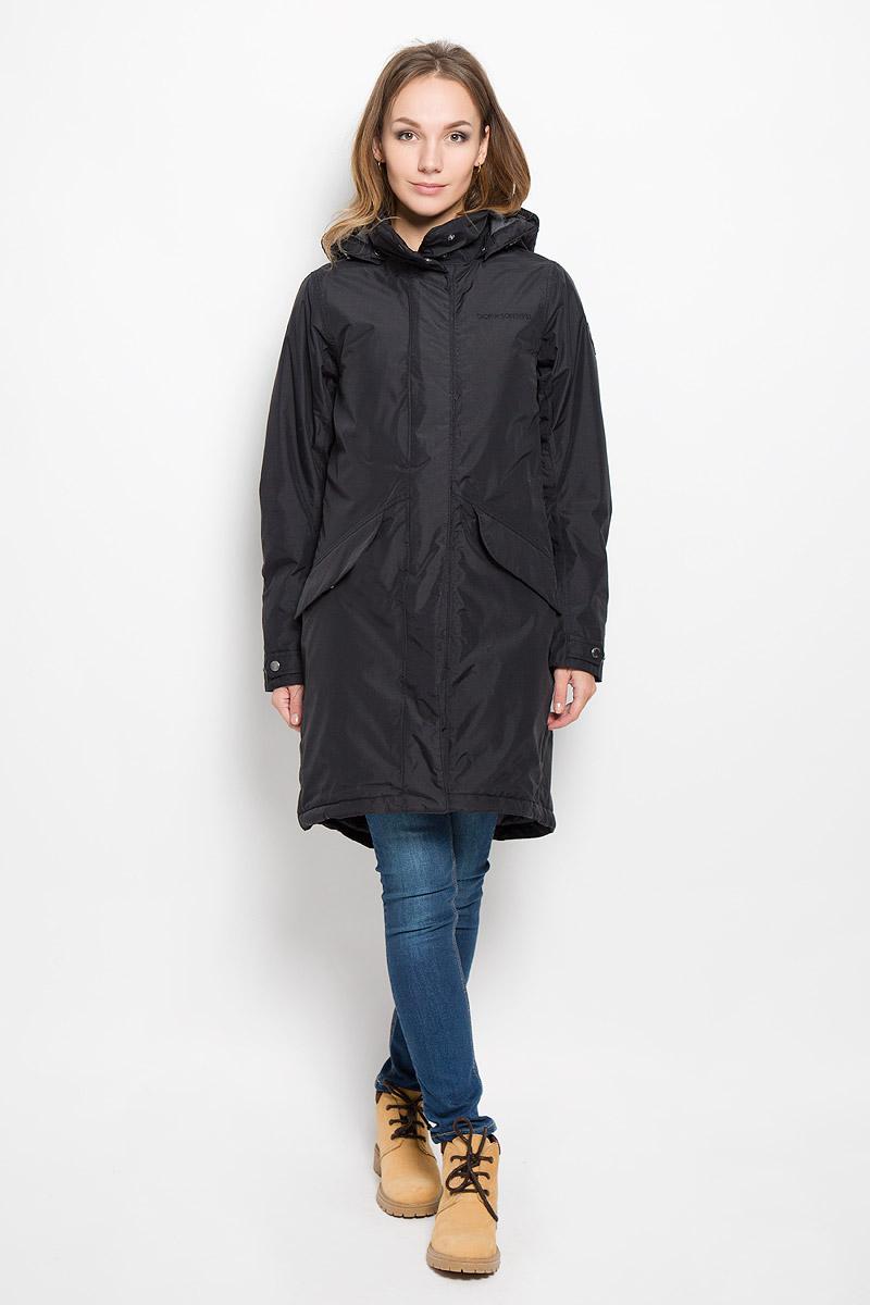 500985_123Удобное женское пальто Didriksons1913 Alba согреет вас в прохладную погоду и позволит выделиться из толпы. Модель с длинными рукавами, воротником-стойкой и съемным капюшоном выполнена из водонепроницаемой и непродуваемой мембранной ткани. Объем капюшона регулируется при помощи шнурка-кулиски со стопперами. Пальто застегивается на застежку-молнию спереди и имеет ветрозащитный клапан на кнопках. Воротник также застегивается на кнопки. Изделие дополнено двумя втачными карманами с клапанами на кнопках спереди, внутренним карманом на застежке-молнии с отверстием для наушников, внутренним карманом-сеткой и открытым накладным карманом. Манжеты рукавов дополнены внутренними трикотажными манжетами и хлястиками с кнопками. Низ и линия талии изделия дополнены шнурками-кулисками со стопперами. Это модное и уютное пальто - отличный вариант для прогулок, оно подчеркнет ваш изысканный вкус и поможет создать неповторимый образ.