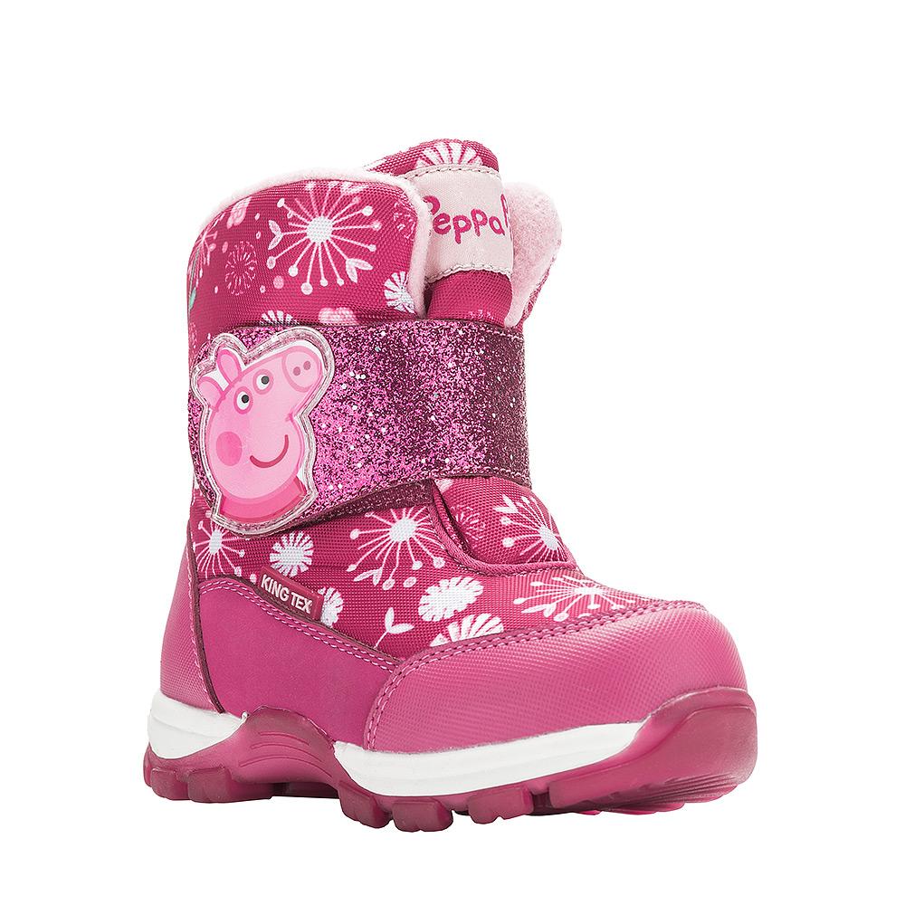 Ботинки6542AДетские зимние ботинки Peppa Pig от Kakadu придутся по душе вашей девочке. Обувь отличается от аналогов модным дизайном и высокой эргономичностью. Модель оснащена мембраной King Tex. Подкладка из натуральной шерсти обеспечивает ногам тепло и сухость при любых климатических условиях. Съемную стельку ботинок всегда можно вынуть или заменить. Подошва из термопластичной резины отличается малым, хорошей сцепляемостью с поверхностью и высокой пружинистостью. Благодаря этим качествам дети могут совершать длительные прогулки без чувства усталости в ногах. Детские зимние ботинки оформлены ярким рисунком свинки Пеппы. Широкий ремешок на липучке надежно фиксирует изделие на ноге.