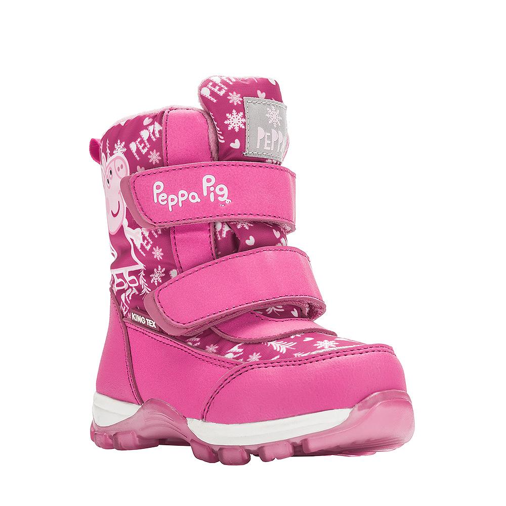 6550AДетские зимние ботинки Peppa Pig от Kakadu придутся по душе вашей девочке. Обувь отличается от аналогов модным дизайном и высокой эргономичностью. Модель оснащена мембраной King Tex. Подкладка из натуральной шерсти обеспечивает ногам тепло и сухость при любых климатических условиях. Подошва из термопластичной резины отличается малым, хорошей сцепляемостью с поверхностью и высокой пружинистостью. Благодаря этим качествам дети могут совершать длительные прогулки без чувства усталости в ногах. Детские зимние ботинки оформлены ярким рисунком свинки Пеппы. Ремешки на липучках надежно фиксируют изделие на ноге.
