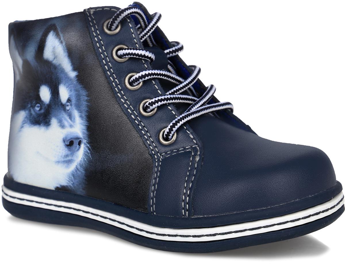 52230ук-1Стильные ботинки от Kapika заинтересуют вашего мальчика с первого взгляда. Модель выполнена из натуральной и искусственной кожи, сбоку оформлена реалистичным принтом с изображением собаки. Изделие на застежке-молнии, подъем дополнен шнуровкой, что способствует надежной фиксации на ноге. Подкладка, изготовленная из шерсти, предотвращает натирание. Антибактериальная, влагопоглощающая, амортизирующая, анатомическая стелька из ЭВА материала с верхним покрытием из шерстяного текстиля, дополненная легкой перфорацией, обеспечивает максимальную устойчивость ноги при ходьбе, правильное формирование стопы и снижение общей утомляемости ног. Подошва оснащена рифлением для лучшей сцепки с поверхностью. Чудесные ботинки займут достойное место в гардеробе вашего ребенка.