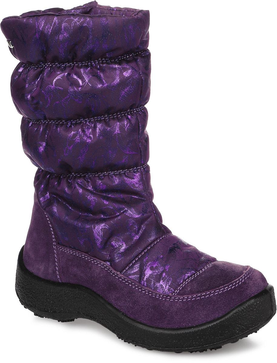 44157-3Сапоги от Kapika придутся по душе вашей девочке. Модель идеально подходит для зимы, сохраняет комфортный микроклимат в обуви как при ношении на улице, так и в помещении. Изделие выполнено из натуральной замши, голенище - из водонепроницаемого текстиля, оформленного мерцающим принтом. Боковая сторона декорирована металлическим логотипом бренда. Изделие на застежке-молнии, что способствует надежной фиксации обуви на ноге и помогает регулировать объем голенища. Подкладка и стелька изготовлены из 30% натуральной шерсти, что позволяет сохранить тепло и гарантирует уют ногам. Подошва с рифлением обеспечивает идеальное сцепление с любыми поверхностями. Такие чудесные сапоги займут достойное место в гардеробе вашего ребенка.