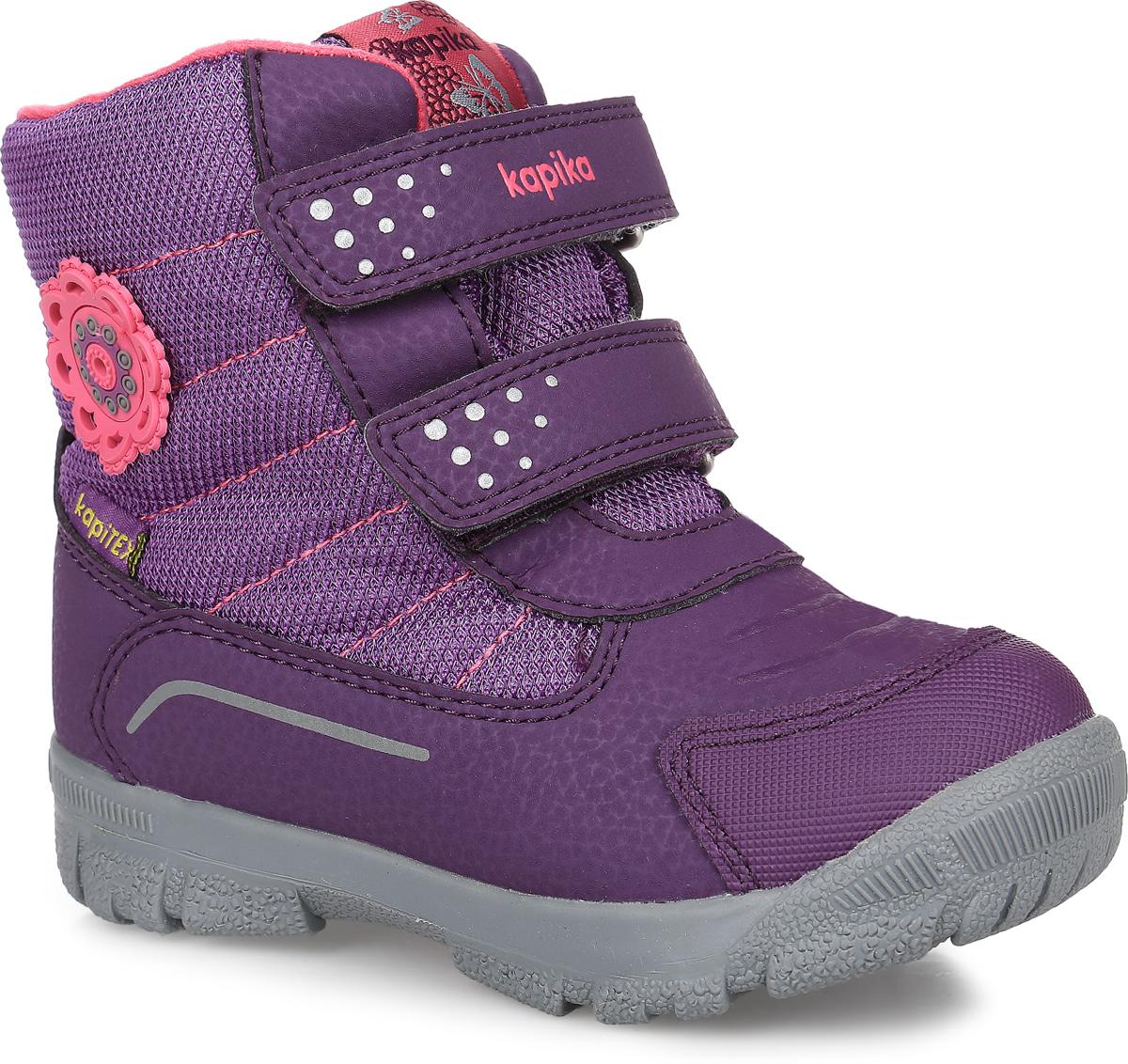 42198-2Ботинки от Kapika придутся по душе вашей девочке. Модель идеально подходит для зимы, сохраняет комфортный микроклимат в обуви как при ношении на улице, так и в помещении. Верх обуви изготовлен из искусственной кожи со вставками из водонепроницаемого текстиля. Два ремешка на застежке-липучке надежно зафиксируют изделие на ноге. Боковая сторона оформлена нашивкой в виде цветка, язычок и верхний ремешок декорированы логотипом бренда. Подкладка и стелька изготовлены из натуральной шерсти, что позволяет сохранить тепло и гарантирует уют ногам. Подошва с рифлением обеспечивает идеальное сцепление с любыми поверхностями. Такие чудесные ботинки займут достойное место в гардеробе вашего ребенка.