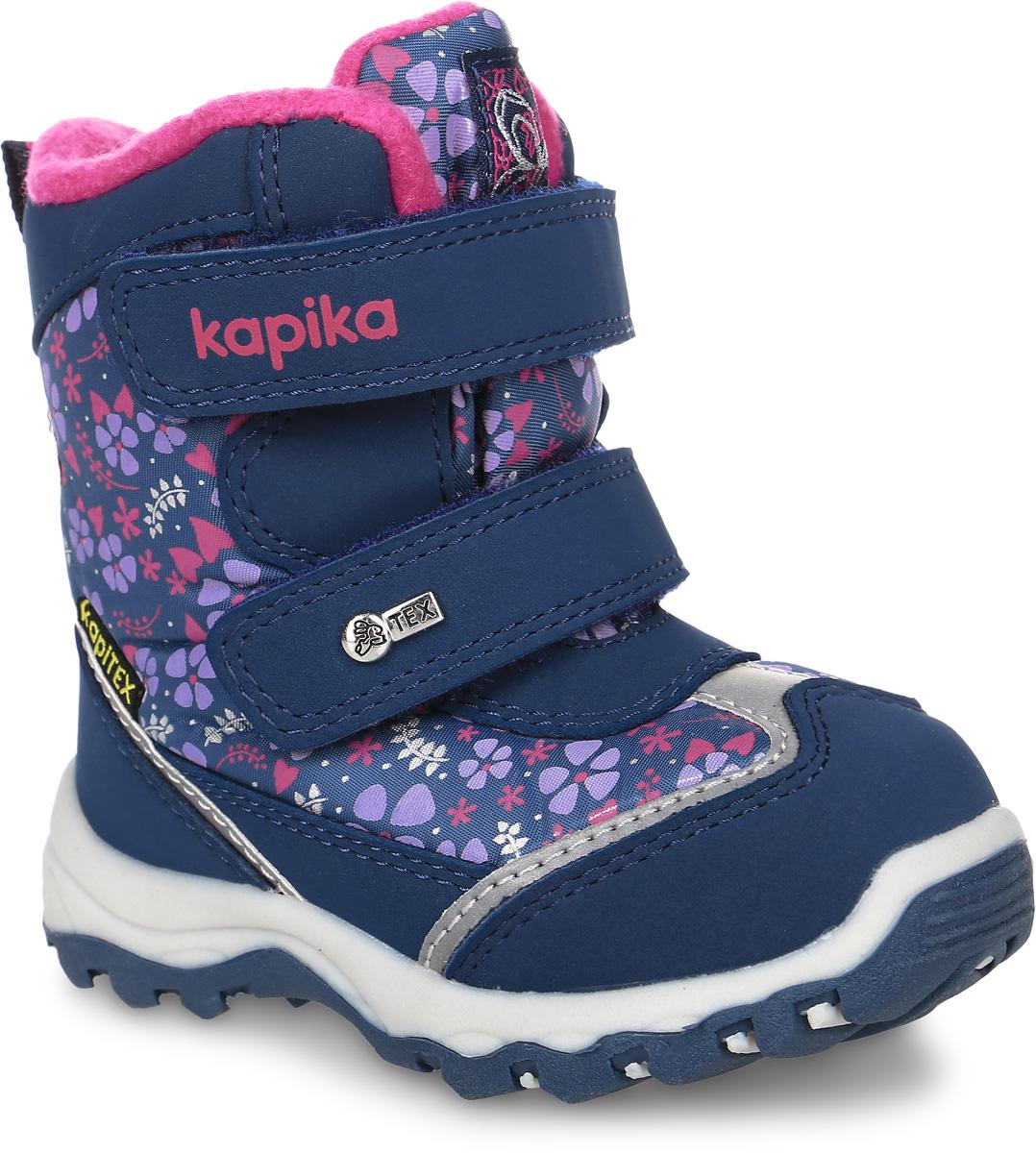 41134-2Ботинки от Kapika придутся по душе вашей девочке. Модель идеально подходит для зимы, сохраняет комфортный микроклимат в обуви как при ношении на улице, так и в помещении. Верх обуви изготовлен из искусственной кожи со вставками из водонепроницаемого текстиля, оформленного нежным цветочным принтом, боковая сторона, язычок, задник и ремешки оформлены фирменным логотипом бренда. Два ремешка на застежке-липучке надежно зафиксируют изделие на ноге. Подкладка и стелька изготовлены из натуральной шерсти, что позволяет сохранить тепло и гарантирует уют ногам. Подошва с рифлением обеспечивает идеальное сцепление с любыми поверхностями. Такие чудесные ботинки займут достойное место в гардеробе вашего ребенка.