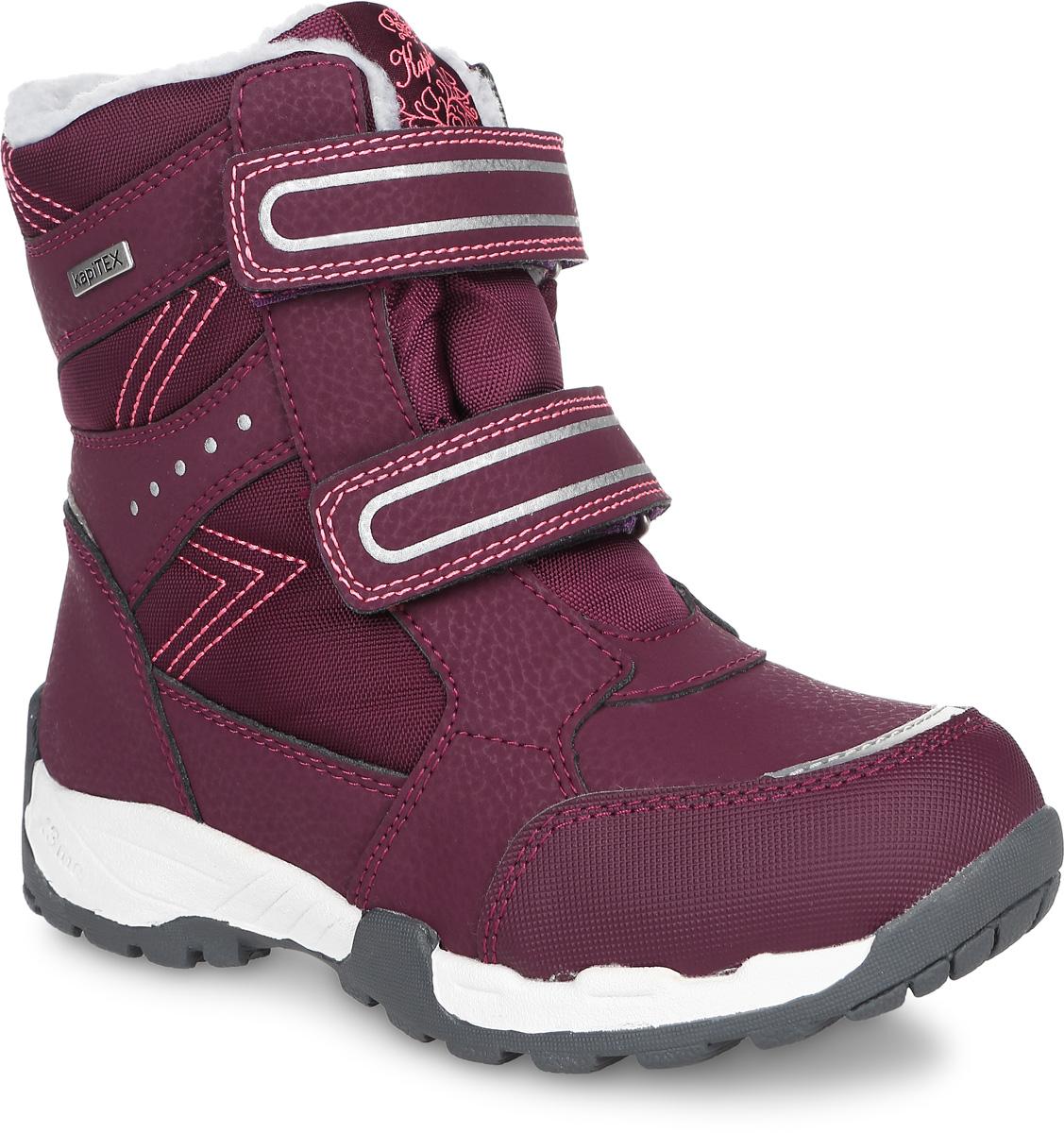 Ботинки43191-1Детские ботинки от Kapika выполнены из искусственной кожи и водонепроницаемого текстиля (мембраны). Модель на застежках-липучках. Подкладка изготовлена из текстиля и шерсти. Подошва из прочной резины оснащена рифлением.