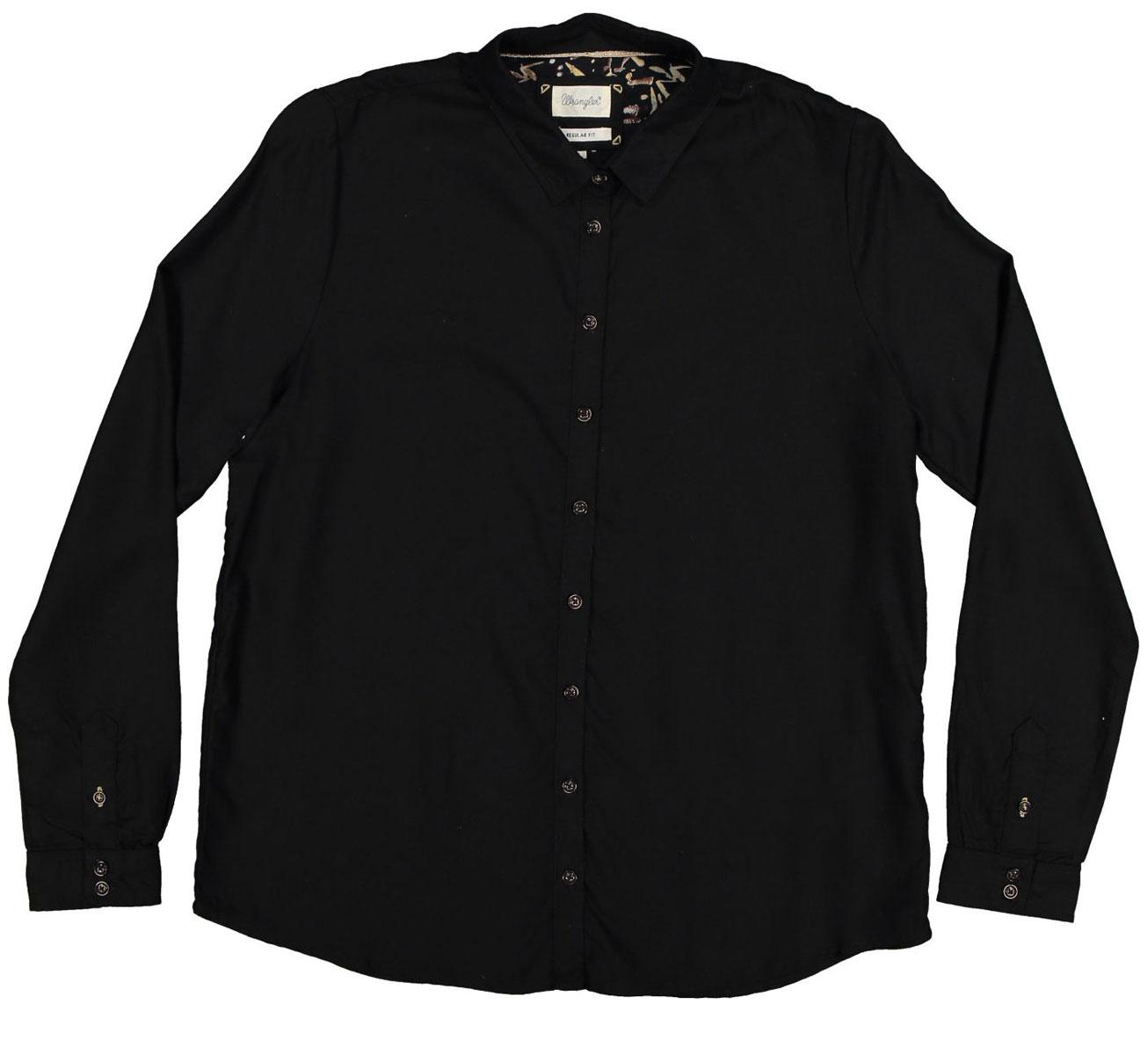 W5188BD01Симпатичная женская рубашка Wrangler, изготовлена из высококачественного материала. Модная рубашка с длинными рукавами и отложным воротником, полукруглым низом, застегивается на пуговицы.