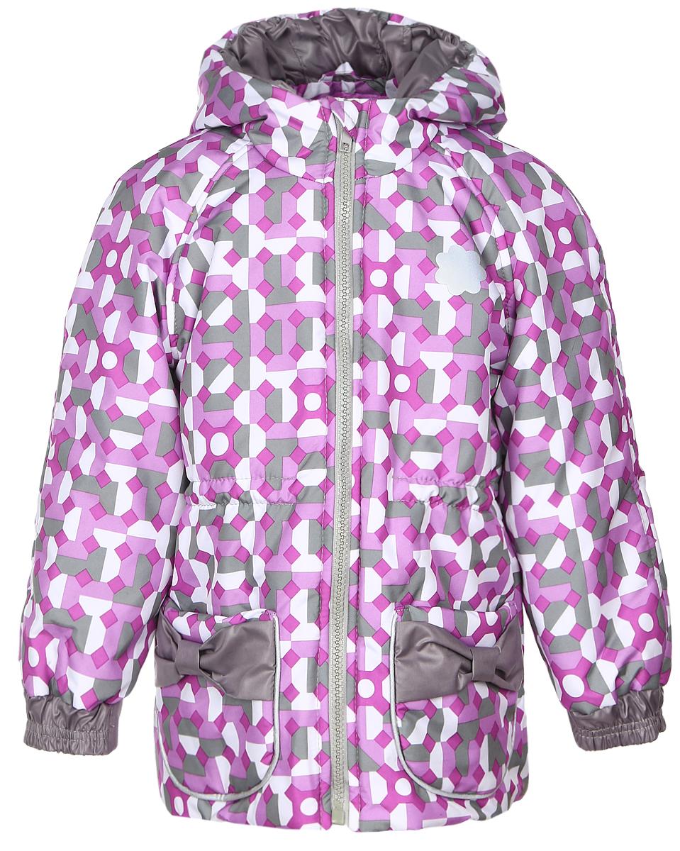Куртка25101Куртка для девочки КотМарКот, изготовленная из полиэстера, станет стильным дополнением к детскому гардеробу. Материал приятный на ощупь, позволяет коже дышать, легко стирается, быстро сушится. Подкладка выполнена из натурального хлопка. В качестве утеплителя используется синтепон. Модель с капюшоном и длинными рукавами застегивается на пластиковую застежку-молнию с защитой подбородка и дополнительно имеет внутреннюю ветрозащитную планку. Спереди расположены два накладных кармана, украшенные бантиками. Талия регулируется при помощи эластичной резинки с стопперами. Дополнена модель светоотражающими элементами. Красивый цвет, модный силуэт обеспечивают куртке прекрасный внешний вид! Теплая, удобная и практичная куртка идеально подойдет юной моднице для прогулок!