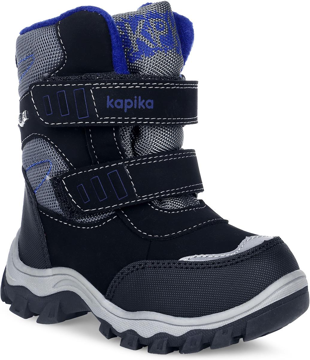 41176-1Стильные ботинки от Kapika заинтересуют вашего мальчика с первого взгляда. Ботинки выполнены из искусственной кожи и плотного текстиля. Модель оформлена оригинальной нашивкой и прострочкой. Язык оформлен фирменным принтом. Передняя и задняя части дополнены накладками для уменьшения износа обуви. Модель фиксируется на ноге с помощью удобных ремешков с застежками-липучками, одна из которых оформлена надписью с названием бренда. Ярлычок на заднике облегчает надевание обуви. Мягкий кант и внутренняя поверхность из текстиля создают комфорт при ходьбе и предотвращают натирание ножки ребенка. Подкладка и стелька на 80% состоят из натуральной шерсти и обеспечат ножкам тепло и уют. Подошва изготовлена из прочного и легкого ТЭП-материала, а ее рифленая поверхность гарантирует отличное сцепление с любой поверхностью. Стильные и практичные ботинки займут достойное место в гардеробе вашего ребенка.