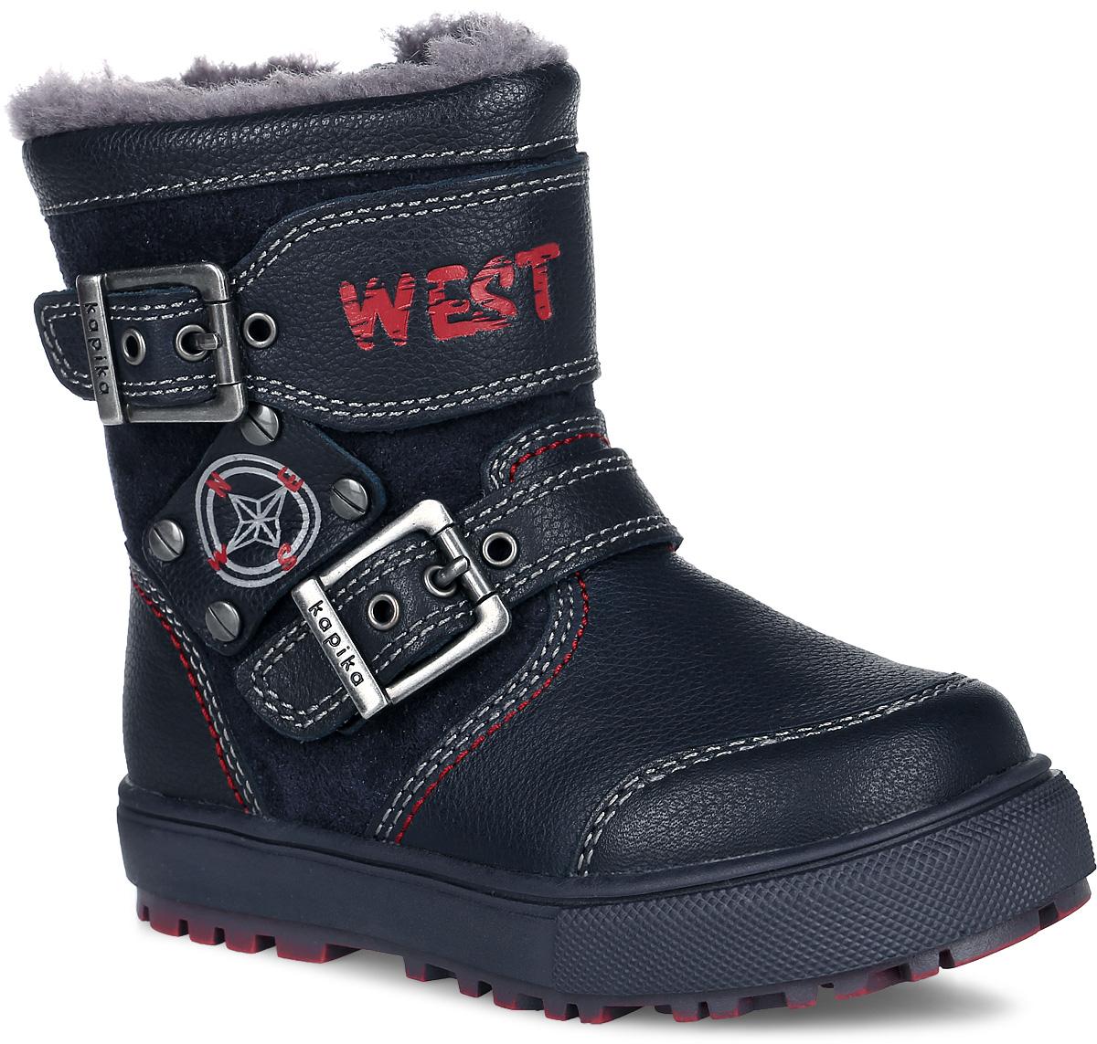 62088Стильные сапоги для мальчика Kapika заинтересуют вашего мальчика с первого взгляда. Сапоги выполнены из натуральной кожи и замши и оформлены нашивками с контрастной прострочкой. Носочная и задняя части дополнены накладками для лучшей сохранности обуви. Обувь фиксируется на ноге с помощью удобной молнии. Объем регулируется с помощью ремешков с пряжками. Подкладка и стелька из натуральной шерсти обеспечат ножкам тепло и уют. Подошва изготовлена из прочного и легкого ТЭП-материала, а ее рифленая поверхность гарантирует отличное сцепление с любой поверхностью. Такие практичные и модные сапоги займут достойное место в гардеробе вашего ребенка.