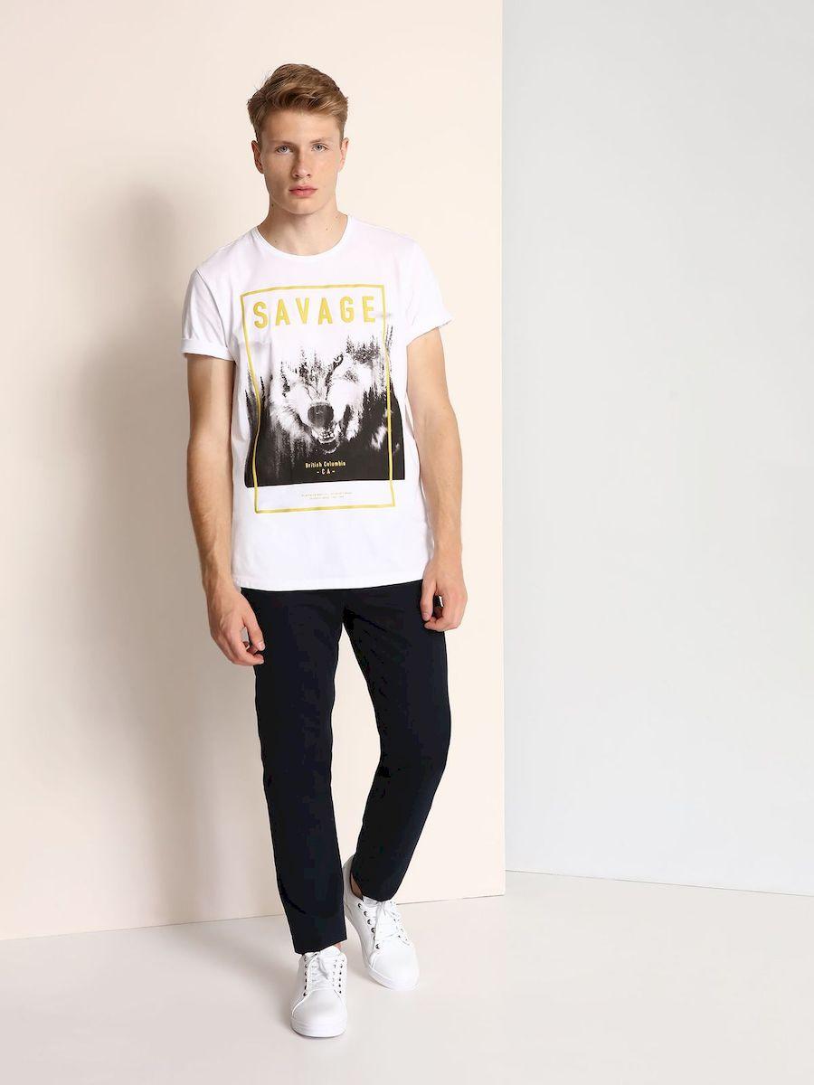 SPO2881BIМужская футболка выполнена из 100% хлопка и оформлена ярким принтом с надписью. Модель со стандартным коротким рукавом и круглым вырезом горловины.