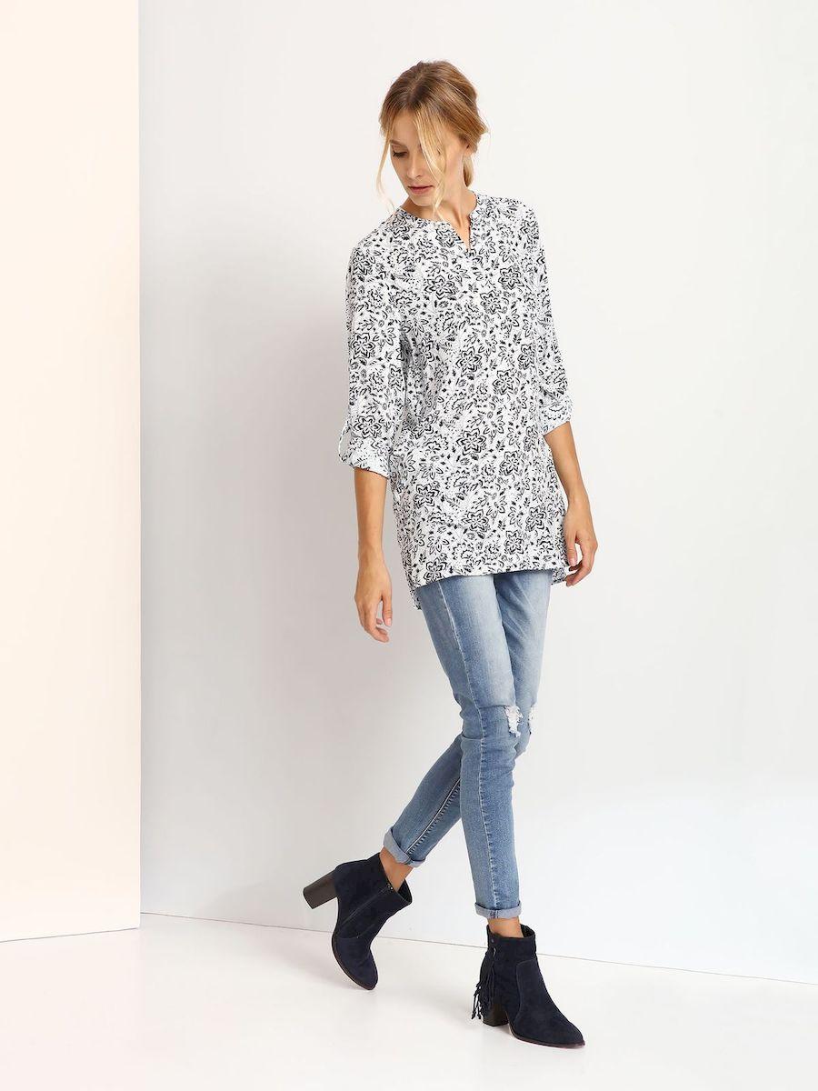 БлузкаSKL2065GRЖенская блузка выполнена из вискозы и оформлена оригинальным узорным принтом. Модель со стандартным длинным рукавом и воротником-стойкой.