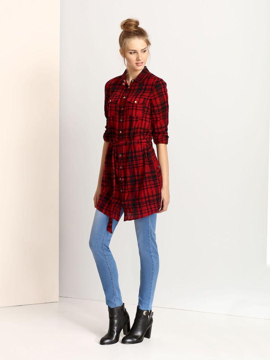 ПлатьеTSU0561CEСтильное платье Troll, изготовленное из высококачественной хлопка, оно приятное на ощупь, не раздражает кожу и хорошо вентилируется. Модель-миди с отложным воротником и длинными рукавами застегивается спереди по всей длине на металлические кнопки. Спереди платье дополнено накладными карманами с клапанами на кнопках и в поясе имеет небольшой поясок.Оформлено изделие принтом в клетку.
