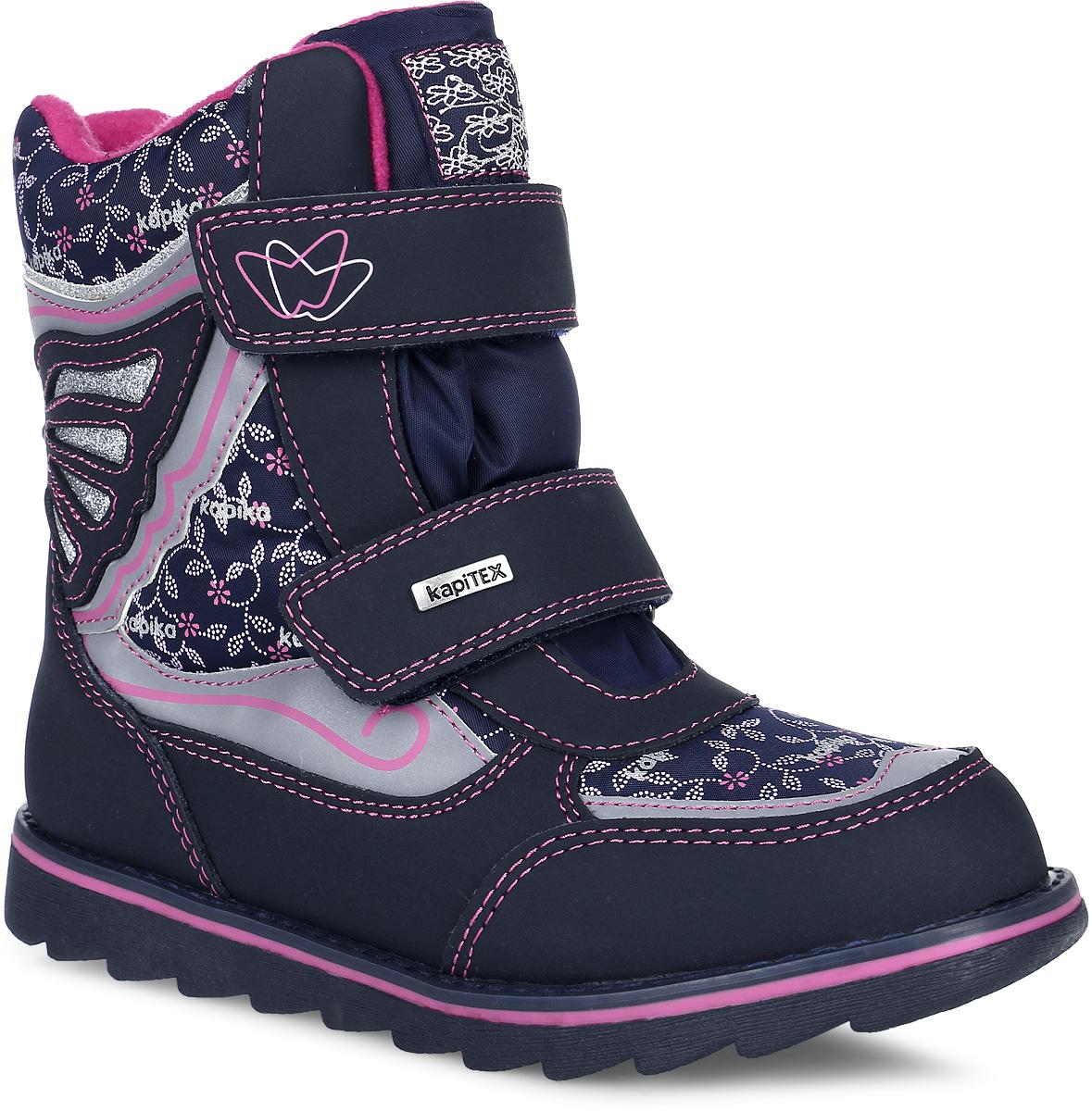 43173-2Стильные и теплые ботинки от Kapika заинтересуют вашу юную модницу с первого взгляда. Обувь изготовлена из водонепроницаемого текстиля и искусственной кожи. Модель оформлена оригинальным принтом и декоративными нашивками с контрастной прострочкой. Носочная и задняя части дополнены накладками для лучшей сохранности обуви. На ноге модель фиксируется с помощью ремешков с застежками-липучками, одна из которых оформлена фирменной металлической пластинкой. Внутренняя поверхность и стелька изготовлены из утепленного текстиля с добавлением шерсти и обеспечат ножкам комфорт и тепло. Подошва изготовлена из легкого и прочного ТЭП-материала, что гарантирует отличное сцепление с любой поверхностью. Такие практичные ботинки займут достойное место в гардеробе вашей девочки.