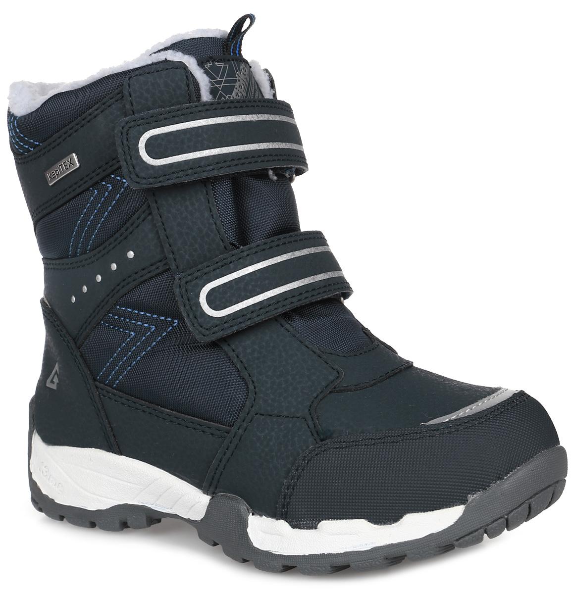 43191-1Детские ботинки от Kapika выполнены из искусственной кожи и водонепроницаемого текстиля (мембраны). Модель на застежках-липучках. Подкладка изготовлена из текстиля и шерсти. Подошва из прочной резины оснащена рифлением.