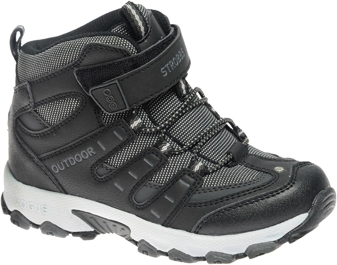 N1839-3Стильные ботинки для мальчика Strobbs, выполненные в спортивном стиле, прекрасно подойдут для активного отдыха и повседневной носки. Верх изготовлен из высококачественного текстиля вставками из синтетической кожи. Подкладка из искусственной шерсти не даст ногам замерзнуть. Удобная шнуровка и хлястик на липучке надежно зафиксируют модель на стопе. Подошва обеспечит легкость и естественную свободу движений.