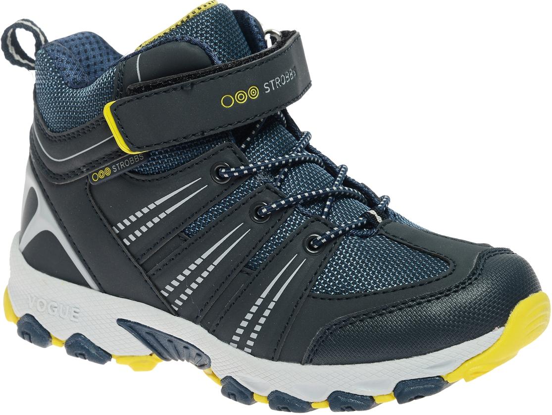 N1837-3Стильные ботинки для мальчика Strobbs, выполненные в спортивном стиле, прекрасно подойдут для активного отдыха и повседневной носки. Верх изготовлен из дышащего текстиля вставками из синтетической кожи. Подкладка из искусственной шерсти не даст ногам замерзнуть. Удобная шнуровка и хлястик на липучке надежно зафиксируют модель на стопе. Подошва обеспечит легкость и естественную свободу движений.