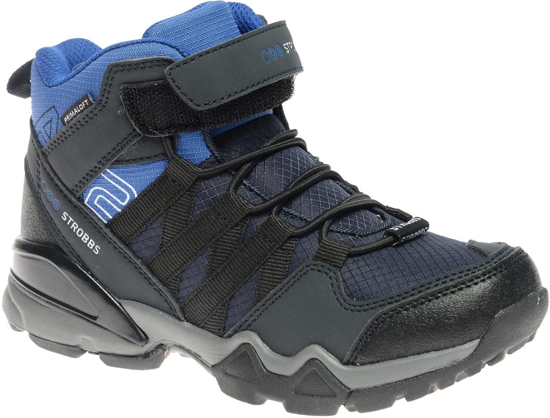 N1836-2Стильные ботинки для мальчика Strobbs, выполненные в спортивном стиле, прекрасно подойдут для активного отдыха и повседневной носки. Верх изготовлен из высококачественного текстиля вставками из синтетической кожи. Подкладка из искусственной шерсти не даст ногам замерзнуть. Удобная эластичная шнуровка и хлястик на липучке надежно зафиксируют модель на стопе. Подошва обеспечит легкость и естественную свободу движений.