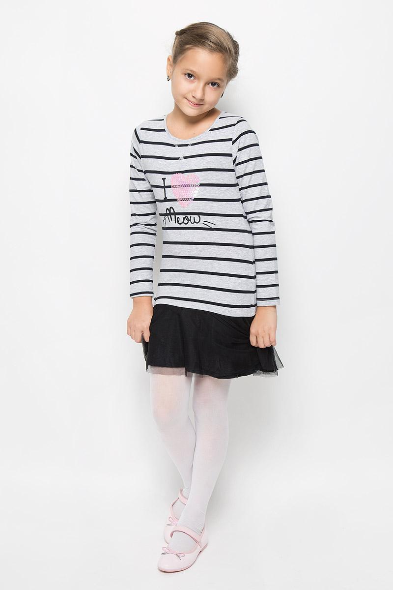 Платье364133Стильное платье для девочки Scool отлично подойдет юной моднице. Выполненное из эластичного хлопка, оно мягкое и приятное на ощупь, не сковывает движения и позволяет коже дышать. Платье с длинными рукавами и круглым вырезом горловины дополнено снизу двойной оборкой из мягкой микросетки. Изделие оформлено принтом в полоску. Украшено платье аппликацией в виде сердечка из сверкающих пайеток и надписью с блестящим напылением. Стильное сочетание разных фактур и материалов придают платью неповторимый стиль и индивидуальность. В таком платье ваша принцесса всегда будет в центре внимания!