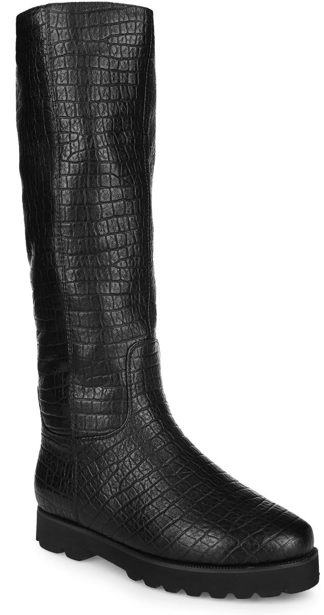 27600MЖенские сапоги от Vitacci, выполненные из натуральной кожи, оформлены тиснением под кожу рептилии. Сапоги застегиваются на боковую застежку-молнию. Мягкая стелька из искусственного меха принимает форму стопы и обеспечивает оптимальный комфорт. Подкладка голенища, выполненная из искусственного меха с более коротким ворсом, согреет ваши ноги в холодную погоду. Подошва с рифлением обеспечивает отличное сцепление с любой поверхностью.