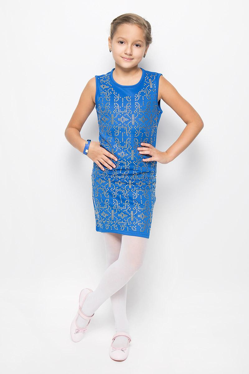 SS163G72-9Очаровательное платье для девочки M&D идеально подойдет вашей малышке. Платье выполнено из полиэстера с добавлением вискозы, оно необычайно мягкое и эластичное, не сковывает движения, великолепно отводит влагу от тела и не раздражает даже самую нежную и чувствительную кожу ребенка, обеспечивая наибольший комфорт. Платье-миди без рукавов застегивается на застежку-молнию на спинке. Изделие оформлено множеством металлических заклепок. В комплект также входит браслет в цвет платья, украшенный металлическими заклепками. Оригинальный современный дизайн и модная расцветка делают это платье модным и стильным предметом детского гардероба. В нем ваша малышка будет чувствовать себя уютно и комфортно и всегда будет в центре внимания!