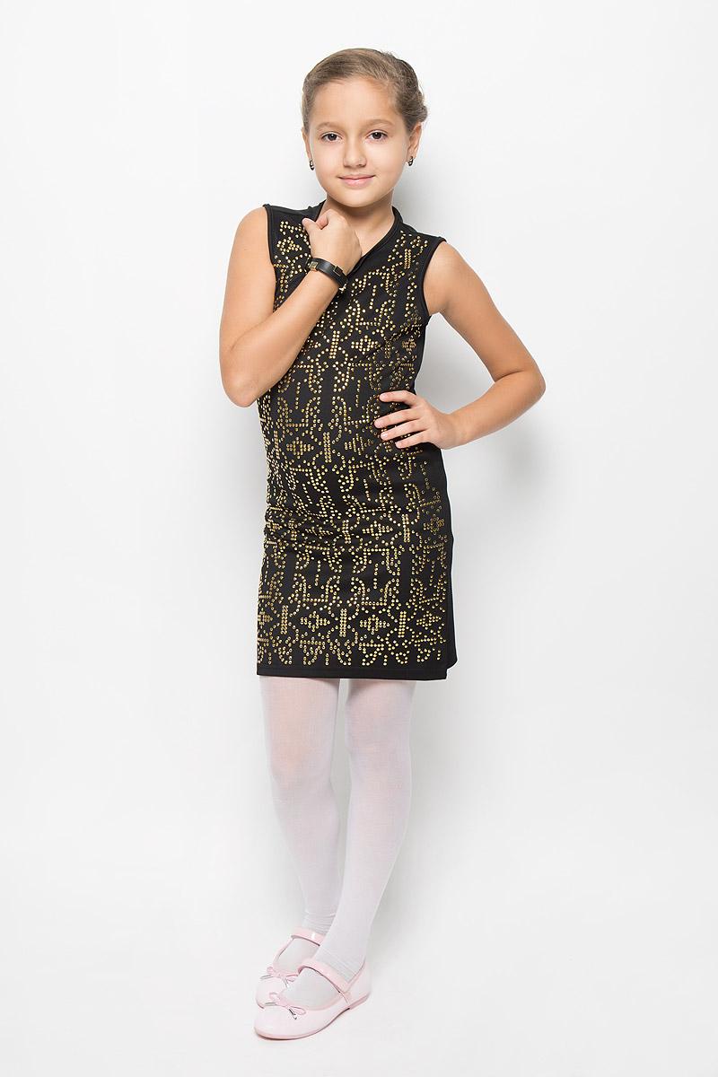 ПлатьеSS163G72-9Очаровательное платье для девочки M&D идеально подойдет вашей малышке. Платье выполнено из полиэстера с добавлением вискозы, оно необычайно мягкое и эластичное, не сковывает движения, великолепно отводит влагу от тела и не раздражает даже самую нежную и чувствительную кожу ребенка, обеспечивая наибольший комфорт. Платье-миди без рукавов застегивается на застежку-молнию на спинке. Изделие оформлено множеством металлических заклепок. В комплект также входит браслет в цвет платья, украшенный металлическими заклепками. Оригинальный современный дизайн и модная расцветка делают это платье модным и стильным предметом детского гардероба. В нем ваша малышка будет чувствовать себя уютно и комфортно и всегда будет в центре внимания!