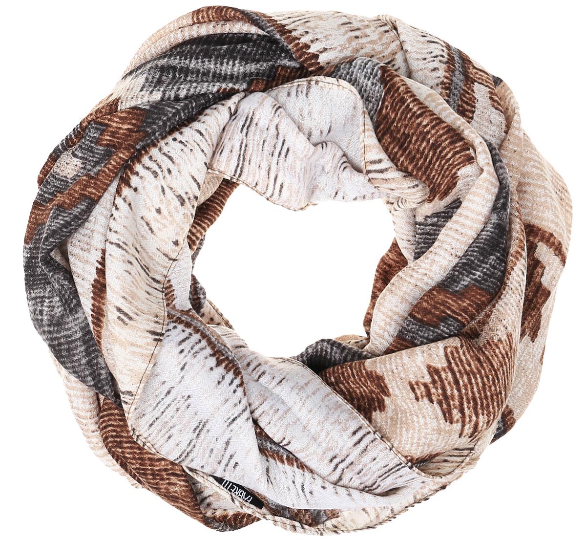 TUTF410-1Женский шарф Fabretti подарит уют и согреет от холодного ветра. Изготовленный из высококачественной вискозы, он очень легкий, мягкий, имеет приятную на ощупь текстуру. Модель оформлена орнаментом. Изделие по краям дополнено кисточками. Такой аксессуар станет стильным дополнением к образу современной женщины, стремящейся всегда оставаться яркой и элегантной.