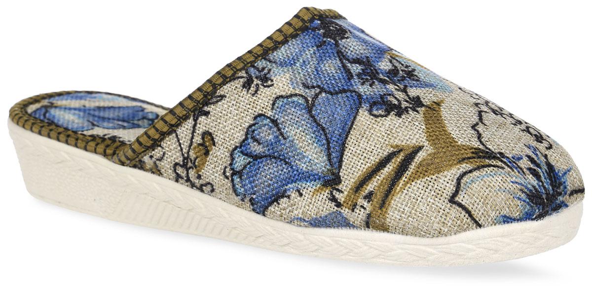 BTW70304 -113Женские тапки от Bris выполнены из плотного текстиля, оформленного цветочным принтом. Подкладка и стелька изготовлены из текстиля. Подошва из поливинилхлорида оснащена рифлением.