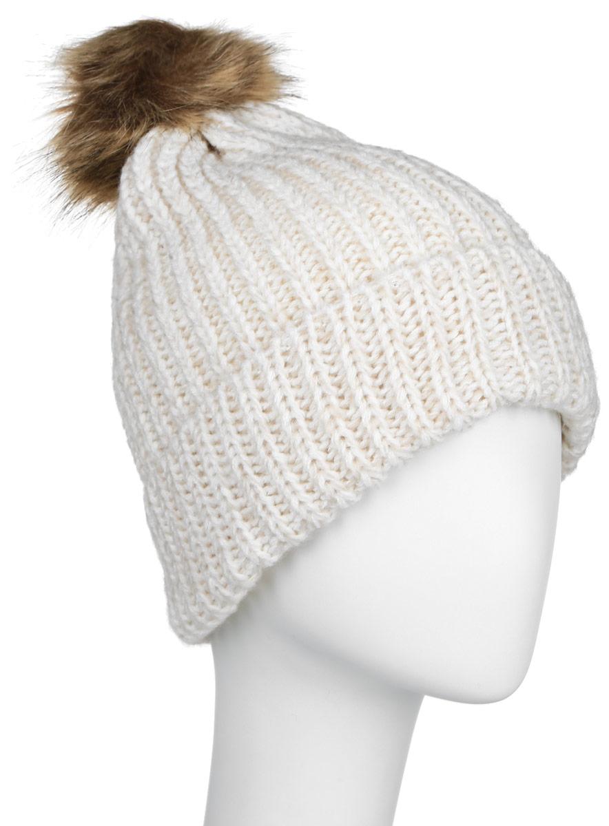 HAk-141/020-6404Стильная женская шапка Sela дополнит ваш наряд и не позволит вам замерзнуть в холодное время года. Шапка крупной вязки выполнена из высококачественной пряжи акрила, что позволяет ей великолепно сохранять тепло и обеспечивает высокую эластичность и удобство посадки. Шапка оформлена пушистым помпоном из искусственного меха. Такая шапка станет модным и стильным дополнением вашего гардероба. Она согреет вас и позволит подчеркнуть свою индивидуальность! Уважаемые клиенты! Размер, доступный для заказа, является обхватом головы.