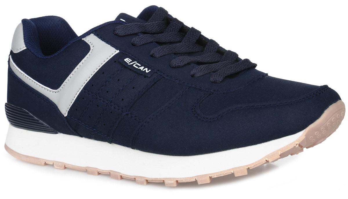 ES720102-2Мужские кроссовки Escan Sport выполнены из искусственной кожи. Язычок оформлен логотипом бренда, обувь фиксируется на ноге при помощи классической шнуровки. Подкладка выполнена из текстиля, стелька изготовлена из ЭВА с покрытием из текстильного материала. Подошва из ЭВА и ТЭП дополнена рифлением.