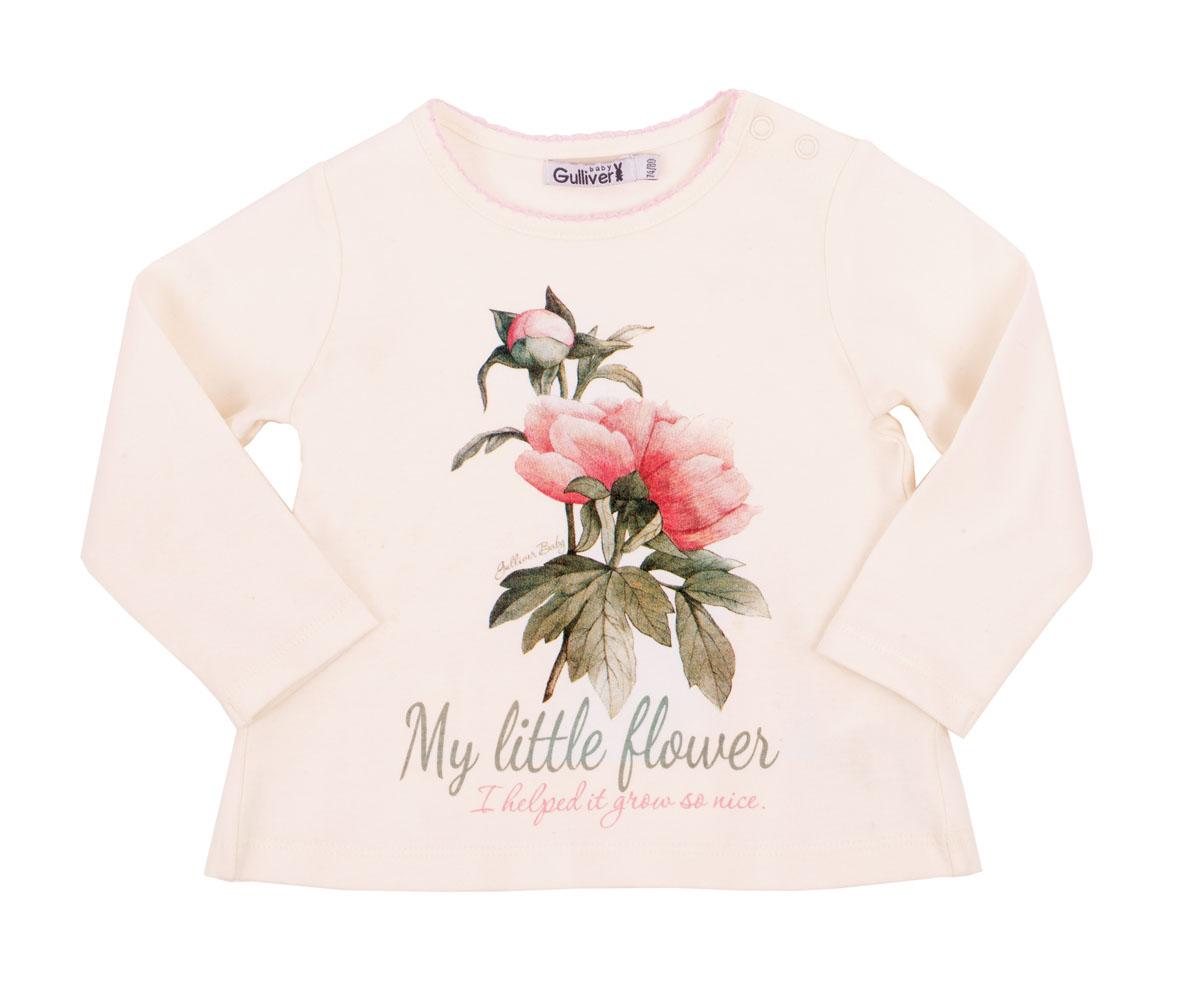 216GBGC1201Футболки для малышей относятся к базовому гардеробу, поэтому они должны выглядеть просто и симпатично, быть приятными к телу и удобными в повседневной носке. Нежный хлопок, оригинальный цветочный принт, мягкая оборка на спинке, застежка на плече для легкости в одевании-раздевании сделают эту футболку любимой и для малышки, и для ее мамы. Вам стоит купить футболку с элегантным декором и она создаст комфорт и сделает образ ребенка очаровательным!