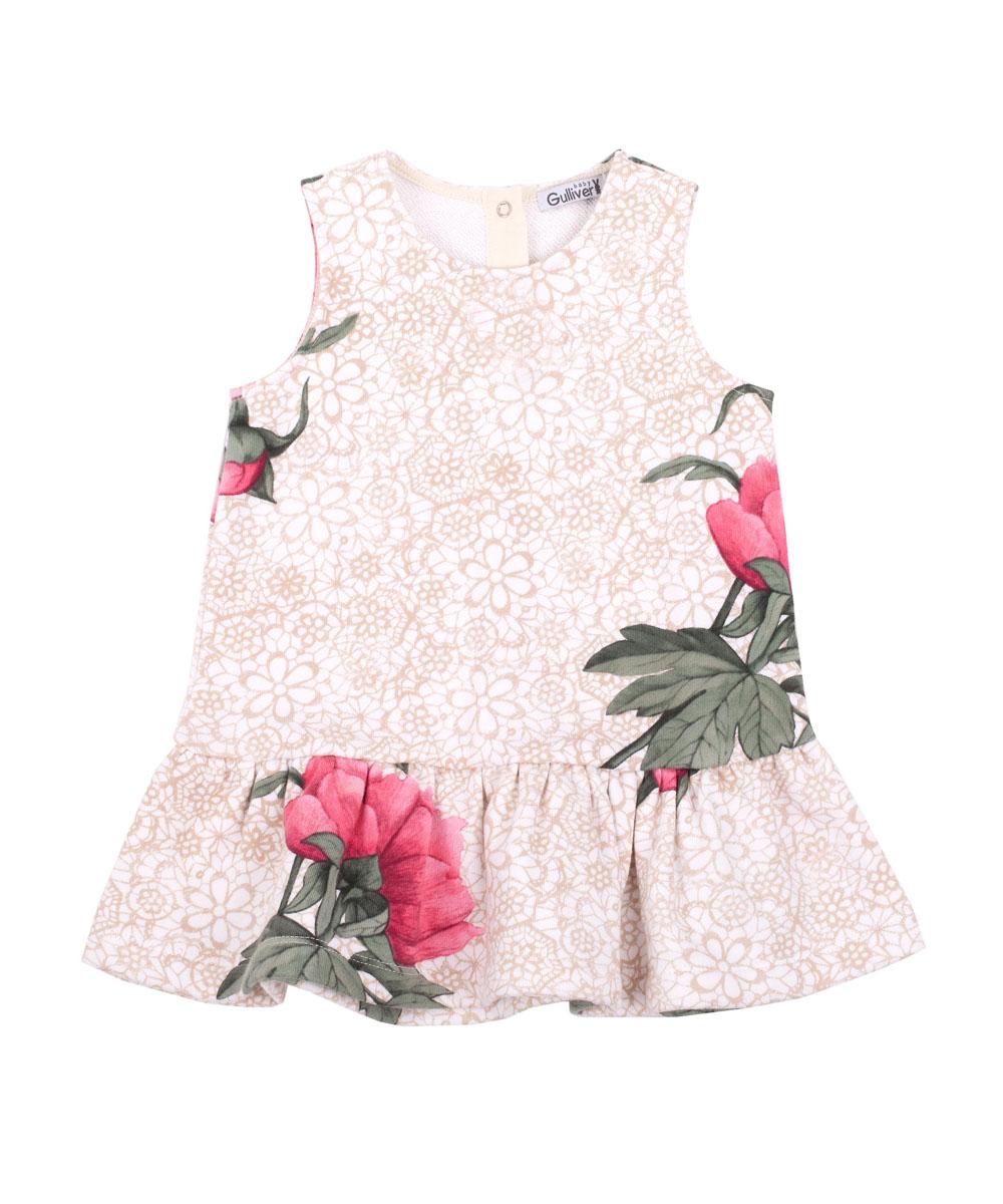 Платье216GBGC5001Трикотажное платье - основа повседневного гардероба ребенка. И дома, и на улице, и в детском саду платье будет ярким акцентом образа. Великолепный принт - крупные цветы на нежном кружевном фоне - выполнен с фантазией и любовью. Он делает платье ярким, интересным, привлекательным для юной модницы. В этом платье вашей малышке обеспечен комфорт, хорошее настроение и внимание окружающих.