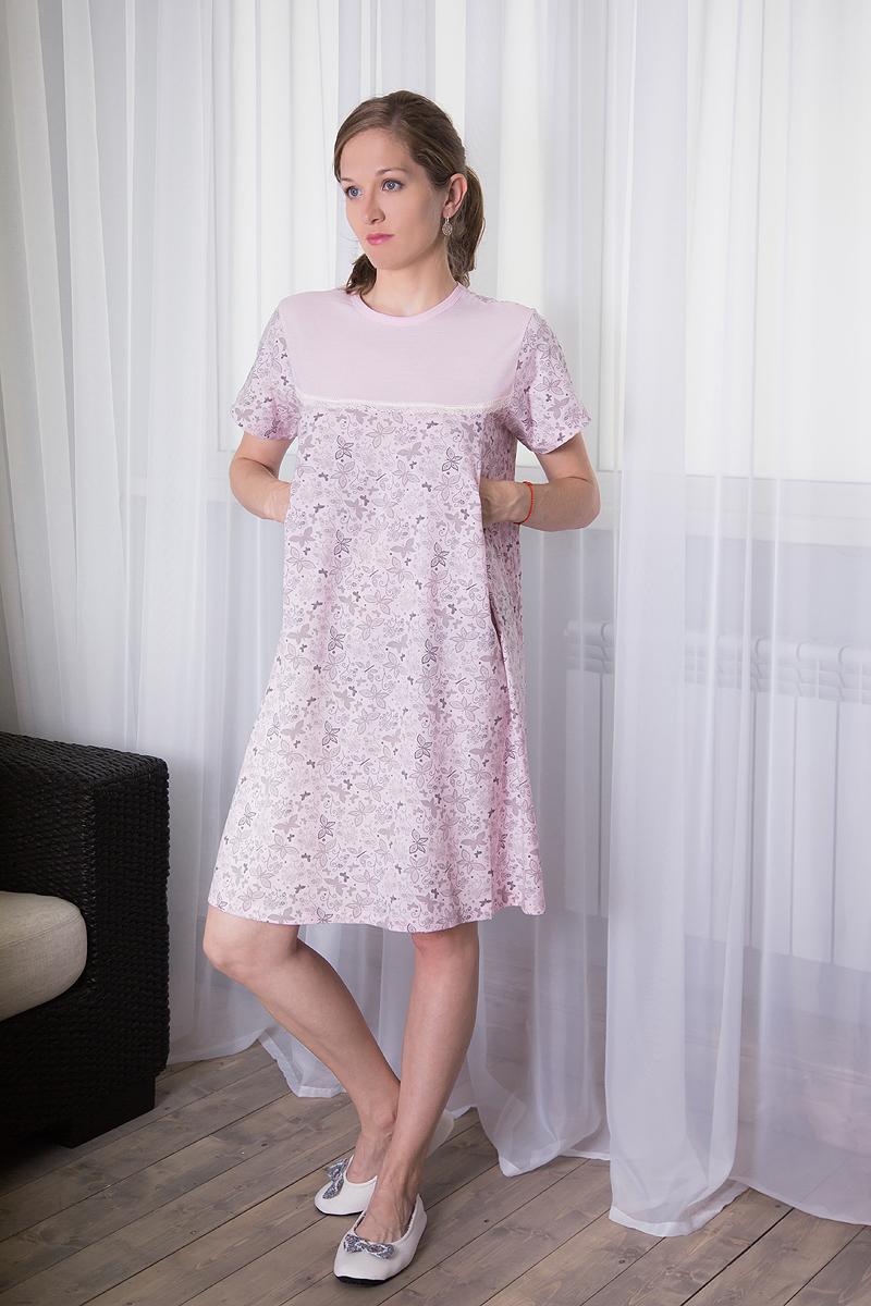 Платье домашнее7117111310Комфортное домашнее платье для кормящих мам Violett с короткими рукавами изготовлено из натурального хлопка. Платье с специальными отверстиями для кормления. Оформлено изделие принтом в виде бабочек.